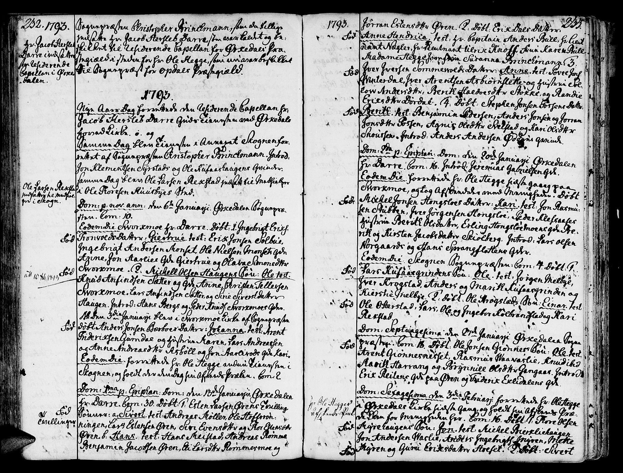 SAT, Ministerialprotokoller, klokkerbøker og fødselsregistre - Sør-Trøndelag, 668/L0802: Ministerialbok nr. 668A02, 1776-1799, s. 232-233
