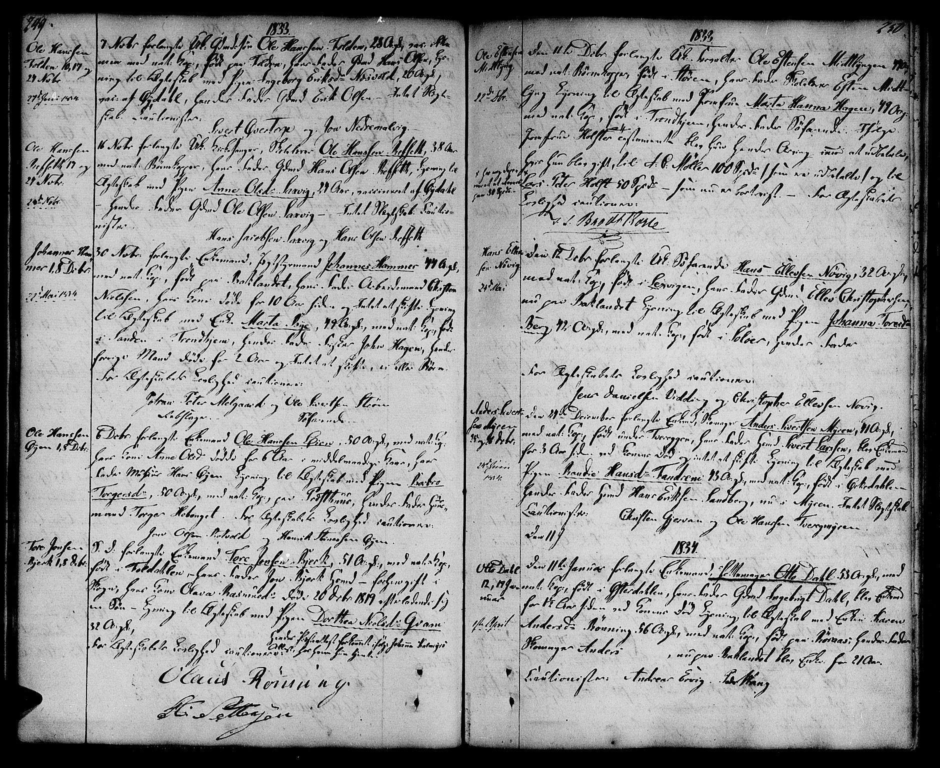 SAT, Ministerialprotokoller, klokkerbøker og fødselsregistre - Sør-Trøndelag, 604/L0181: Ministerialbok nr. 604A02, 1798-1817, s. 249-250