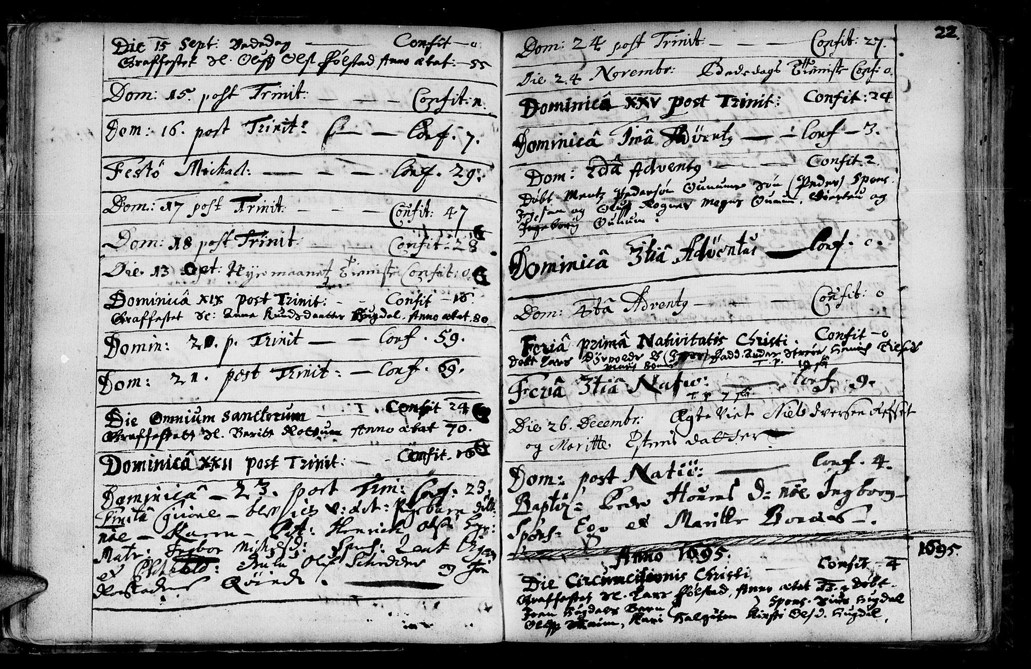 SAT, Ministerialprotokoller, klokkerbøker og fødselsregistre - Sør-Trøndelag, 687/L0990: Ministerialbok nr. 687A01, 1690-1746, s. 22a