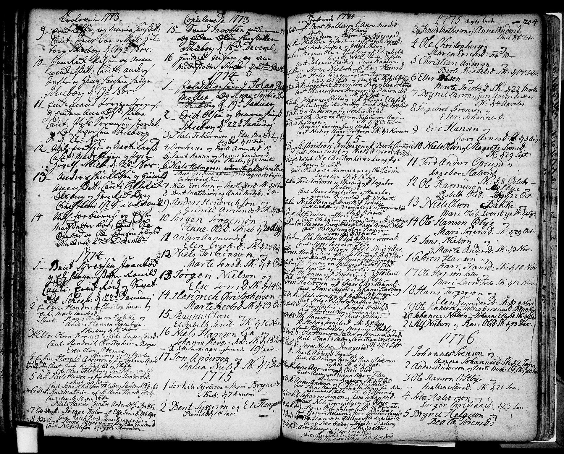 SAO, Skjeberg prestekontor Kirkebøker, F/Fa/L0002: Ministerialbok nr. I 2, 1726-1791, s. 204