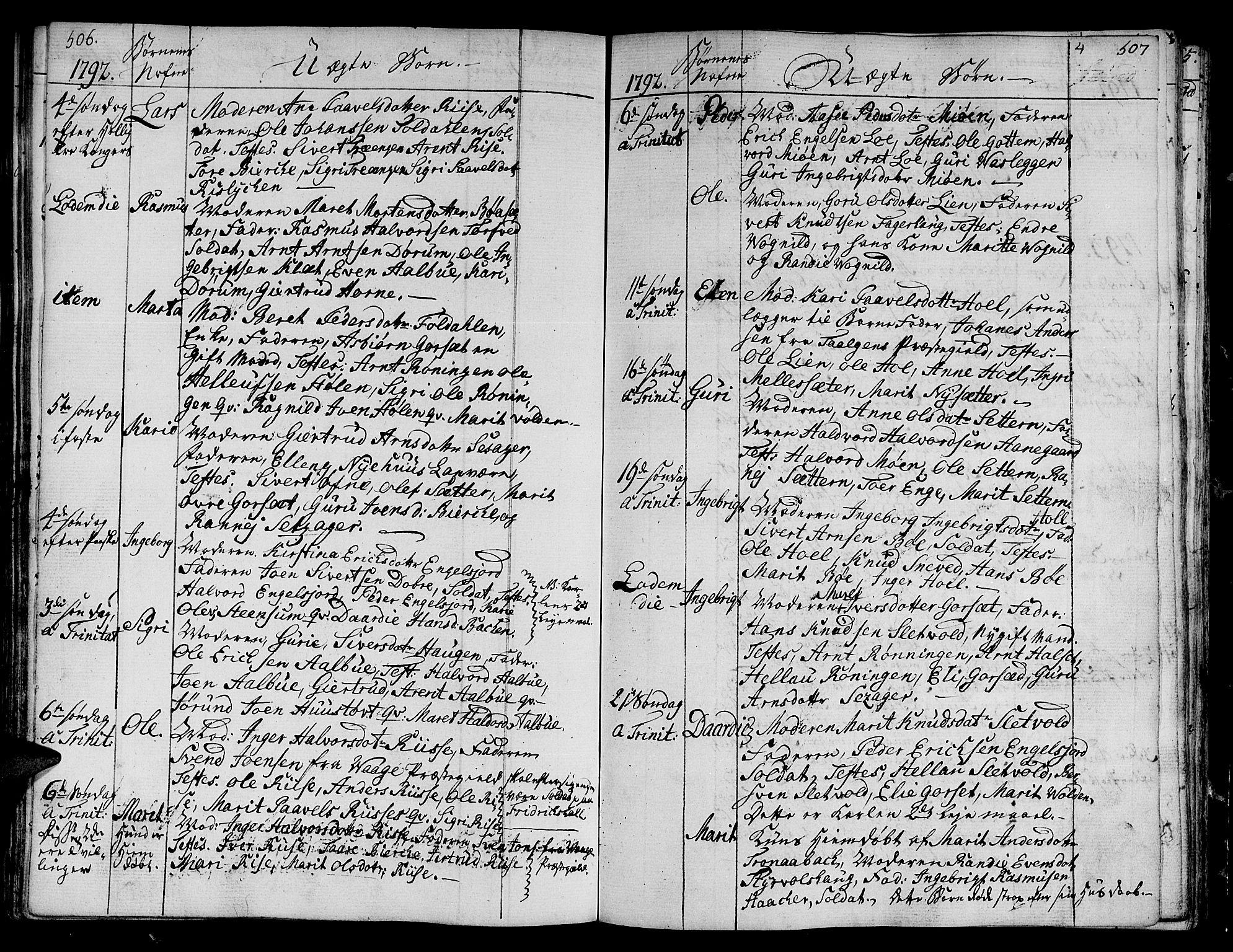 SAT, Ministerialprotokoller, klokkerbøker og fødselsregistre - Sør-Trøndelag, 678/L0893: Ministerialbok nr. 678A03, 1792-1805, s. 506-507