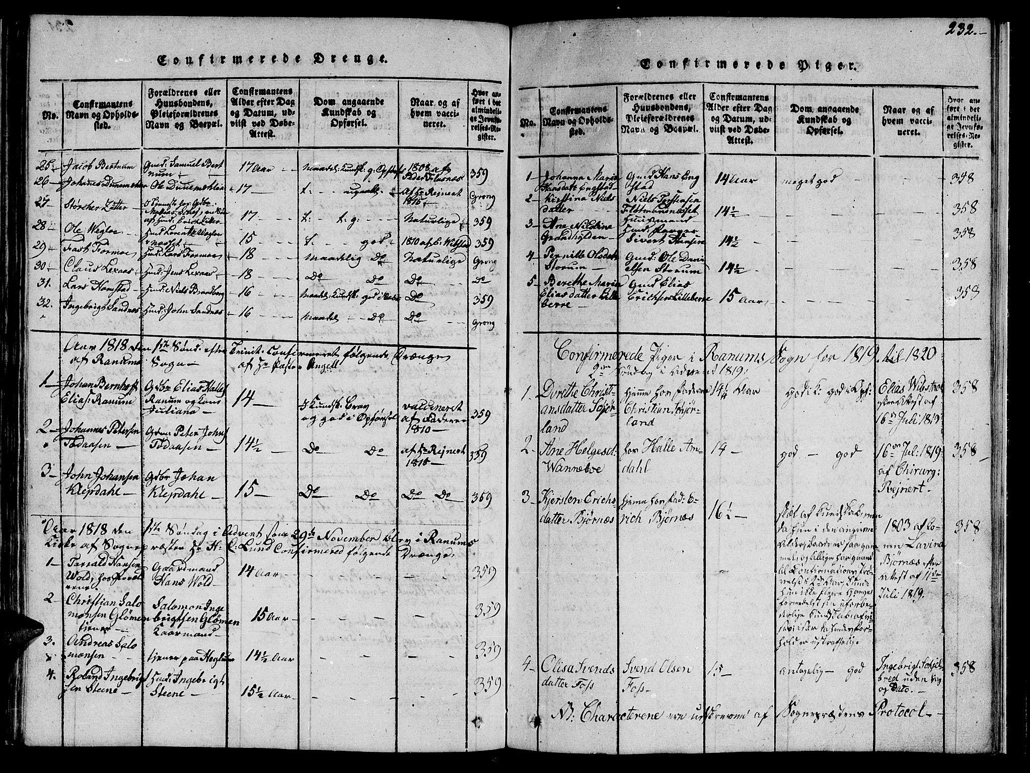 SAT, Ministerialprotokoller, klokkerbøker og fødselsregistre - Nord-Trøndelag, 764/L0559: Klokkerbok nr. 764C01, 1816-1824, s. 232