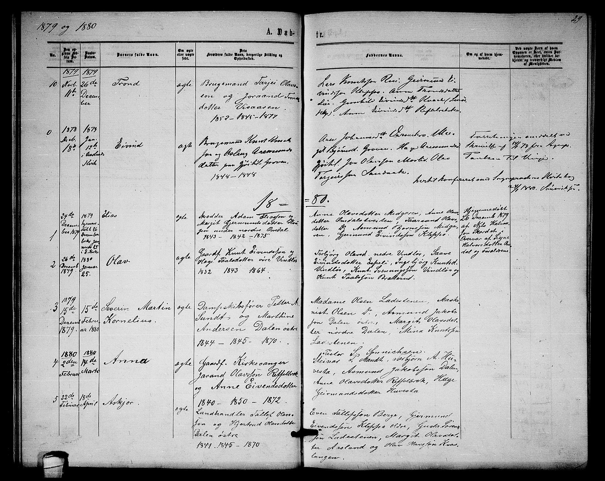SAKO, Lårdal kirkebøker, G/Gb/L0002: Klokkerbok nr. II 2, 1865-1888, s. 29