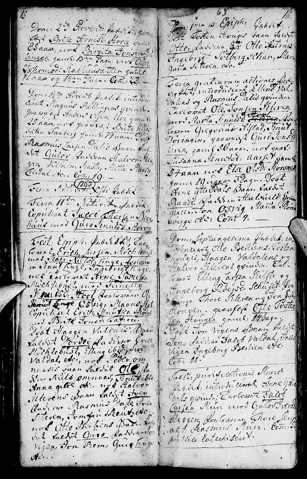 SAT, Ministerialprotokoller, klokkerbøker og fødselsregistre - Møre og Romsdal, 519/L0243: Ministerialbok nr. 519A02, 1760-1770, s. 15-16