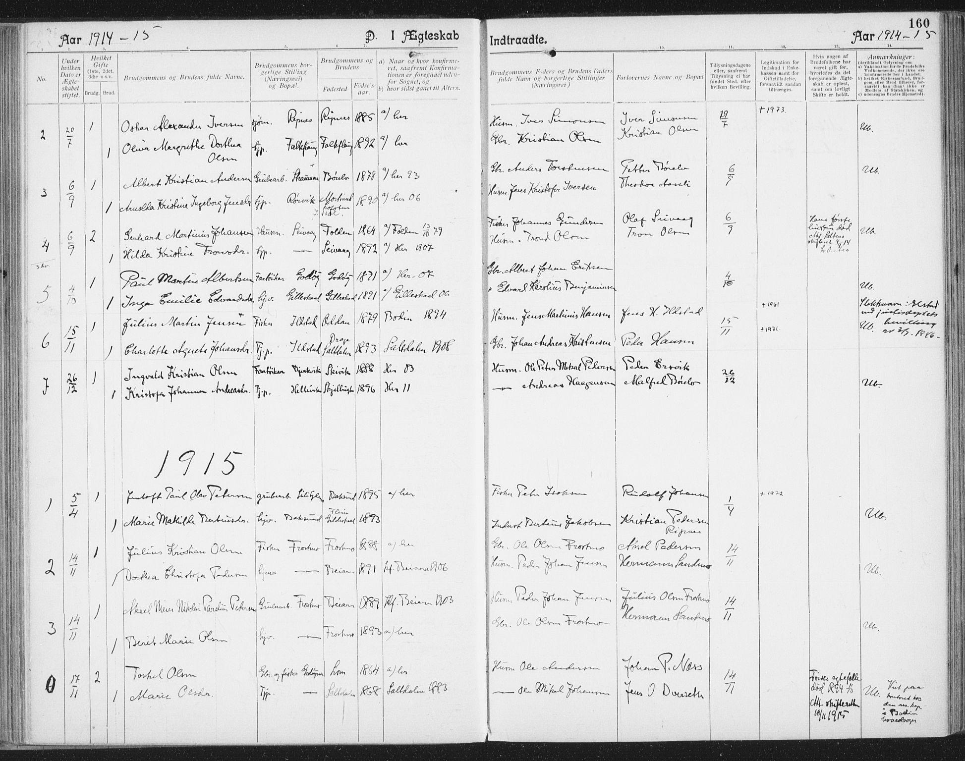 SAT, Ministerialprotokoller, klokkerbøker og fødselsregistre - Nordland, 804/L0081: Ministerialbok nr. 804A02, 1901-1915, s. 160