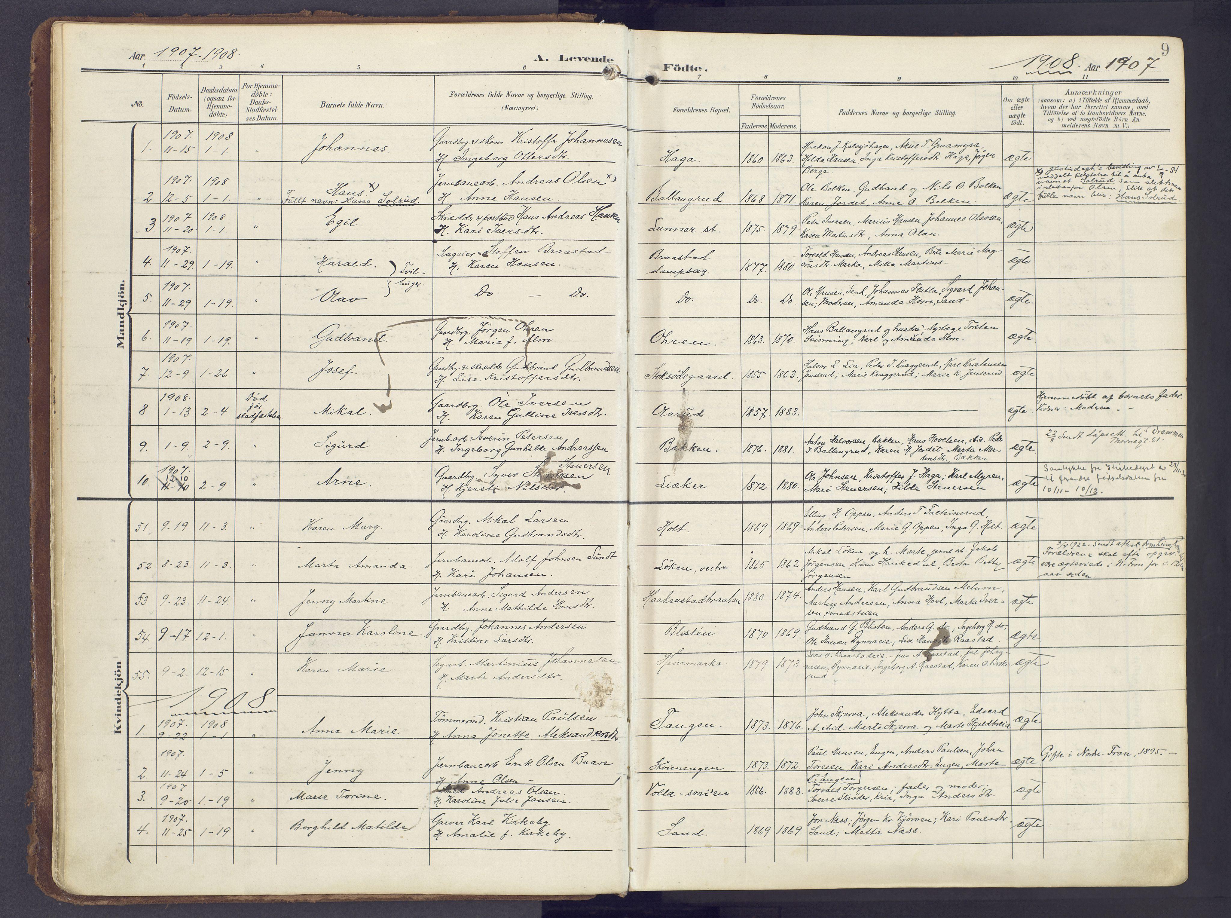 SAH, Lunner prestekontor, H/Ha/Haa/L0001: Ministerialbok nr. 1, 1907-1922, s. 9