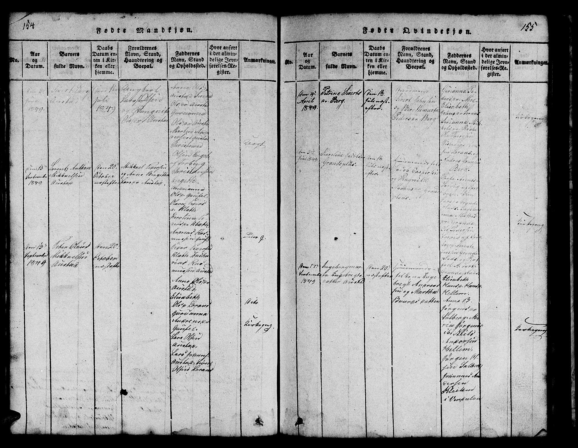 SAT, Ministerialprotokoller, klokkerbøker og fødselsregistre - Nord-Trøndelag, 731/L0310: Klokkerbok nr. 731C01, 1816-1874, s. 154-155