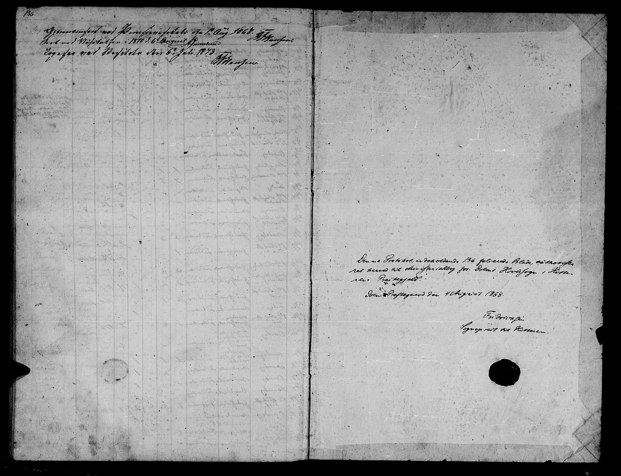 SAT, Ministerialprotokoller, klokkerbøker og fødselsregistre - Sør-Trøndelag, 634/L0539: Klokkerbok nr. 634C01, 1866-1873, s. 136
