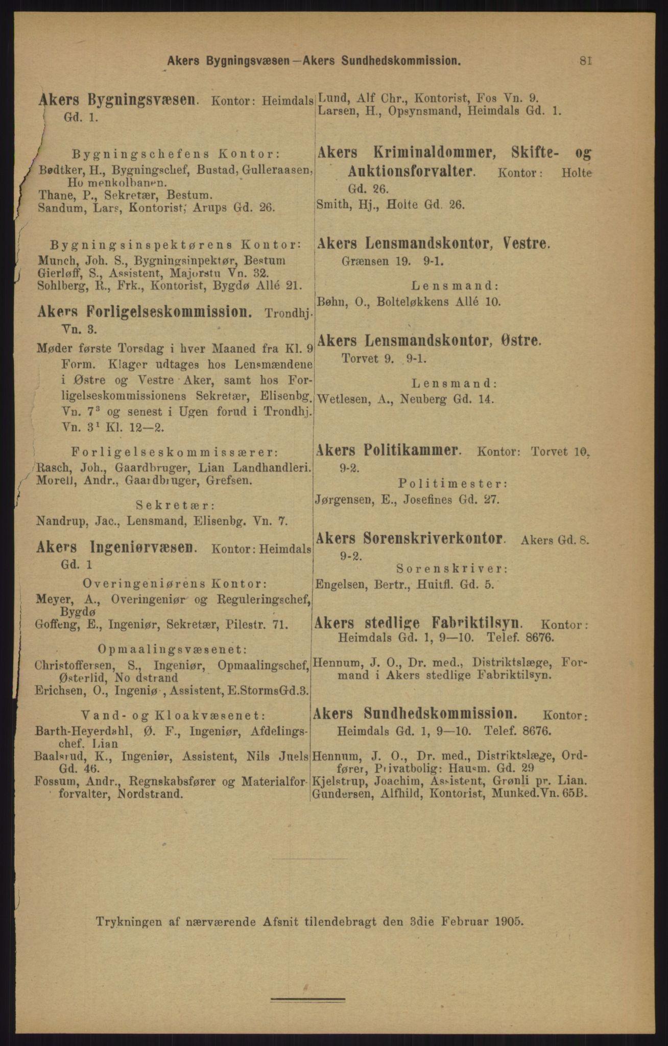 RA, Kristiania adressebok (publikasjon)*, 1905, s. 81