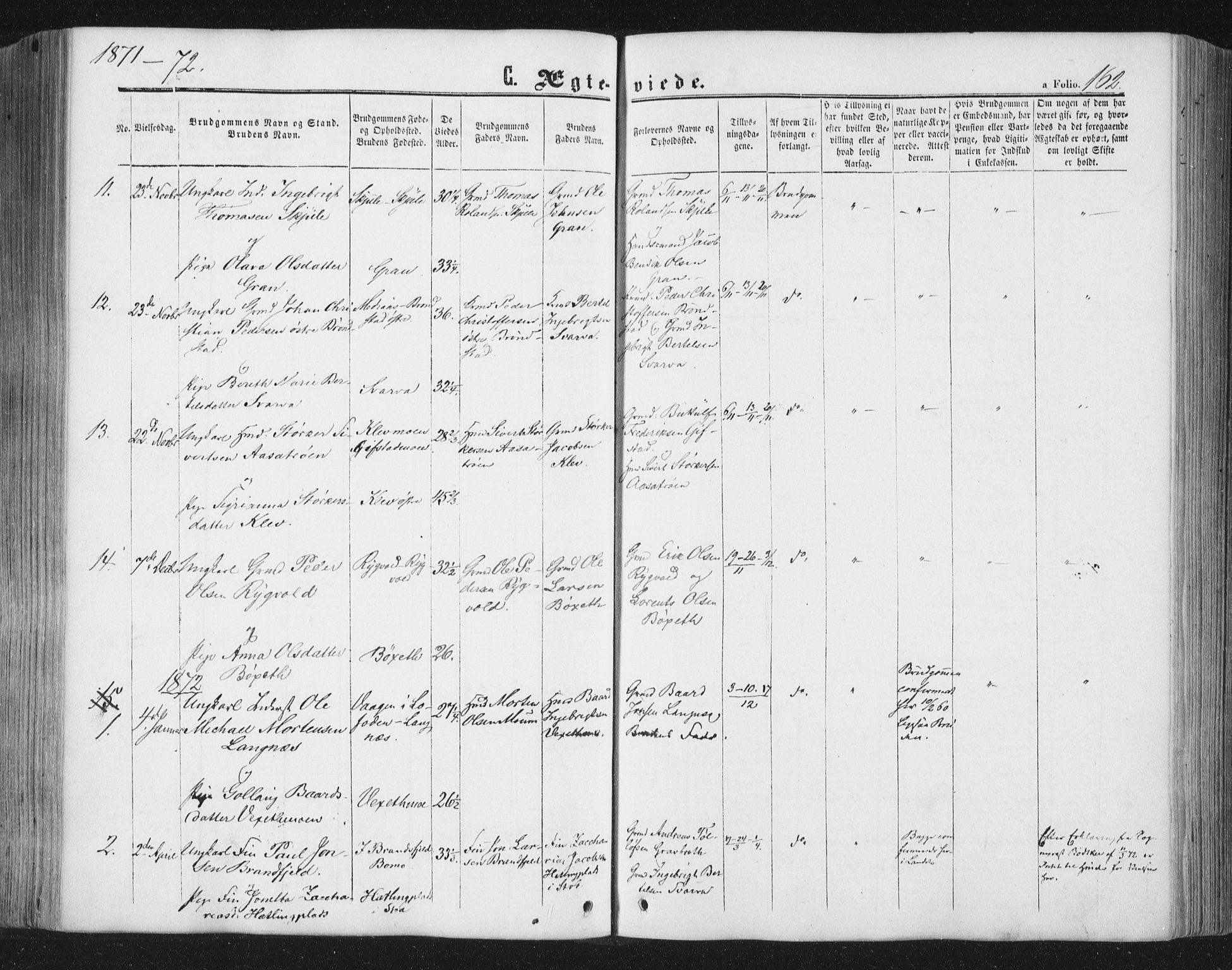SAT, Ministerialprotokoller, klokkerbøker og fødselsregistre - Nord-Trøndelag, 749/L0472: Ministerialbok nr. 749A06, 1857-1873, s. 162