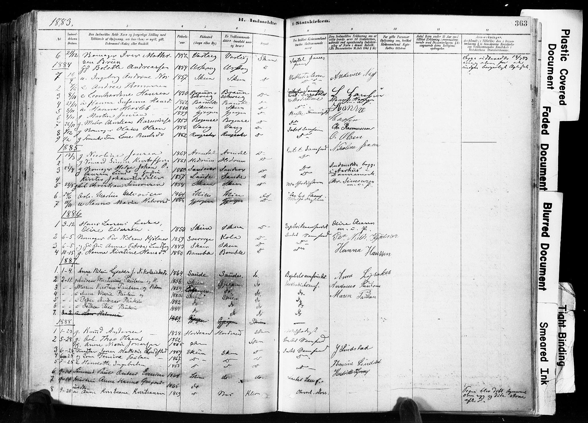 SAKO, Skien kirkebøker, F/Fa/L0009: Ministerialbok nr. 9, 1878-1890, s. 363