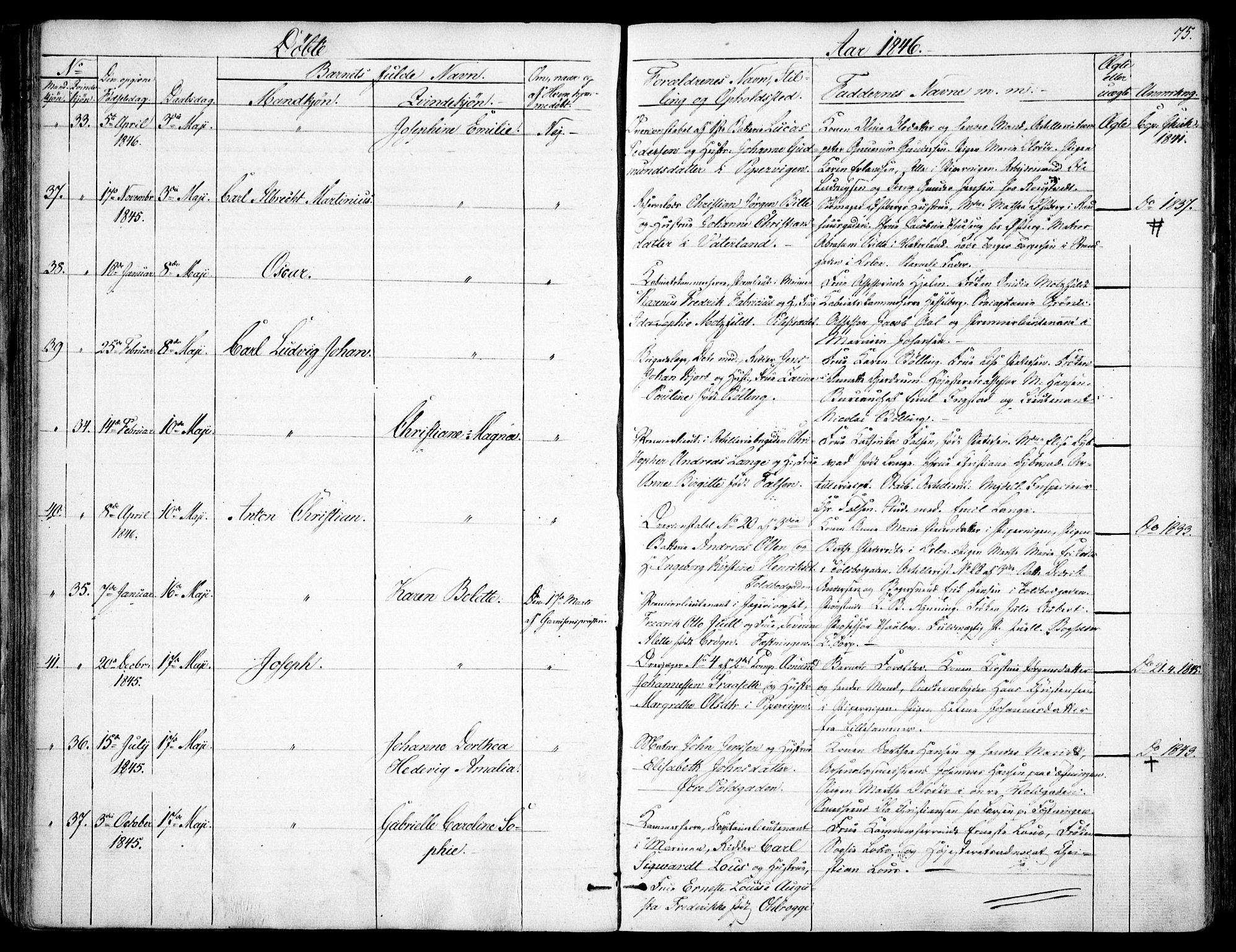 SAO, Garnisonsmenigheten Kirkebøker, F/Fa/L0008: Ministerialbok nr. 8, 1842-1859, s. 75