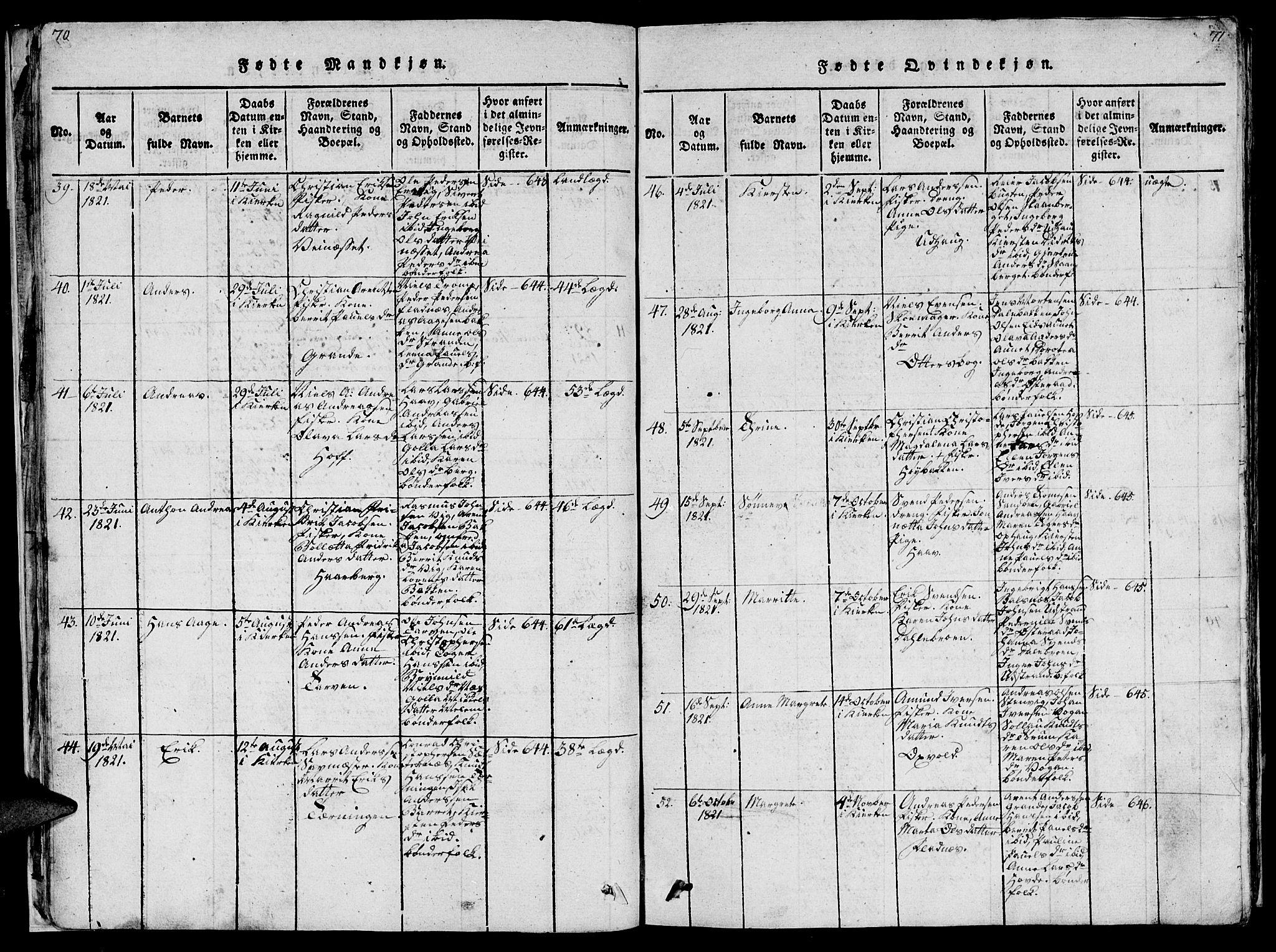 SAT, Ministerialprotokoller, klokkerbøker og fødselsregistre - Sør-Trøndelag, 659/L0744: Klokkerbok nr. 659C01, 1818-1825, s. 70-71