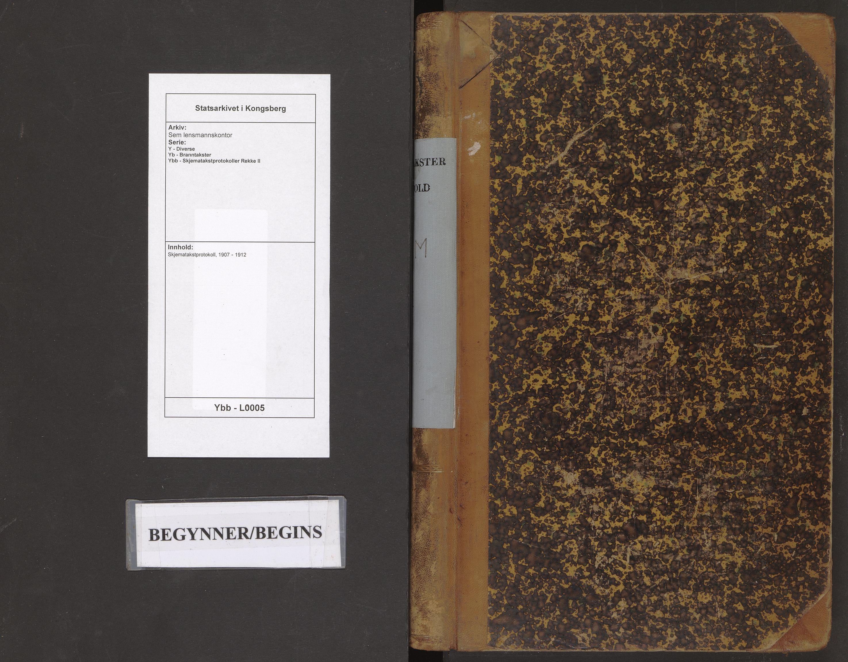 SAKO, Sem lensmannskontor, Y/Yb/Ybb/L0005: Skjematakstprotokoll, 1907-1912