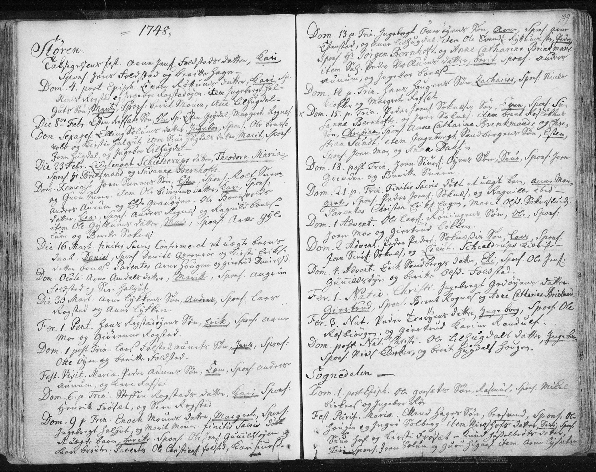 SAT, Ministerialprotokoller, klokkerbøker og fødselsregistre - Sør-Trøndelag, 687/L0991: Ministerialbok nr. 687A02, 1747-1790, s. 199