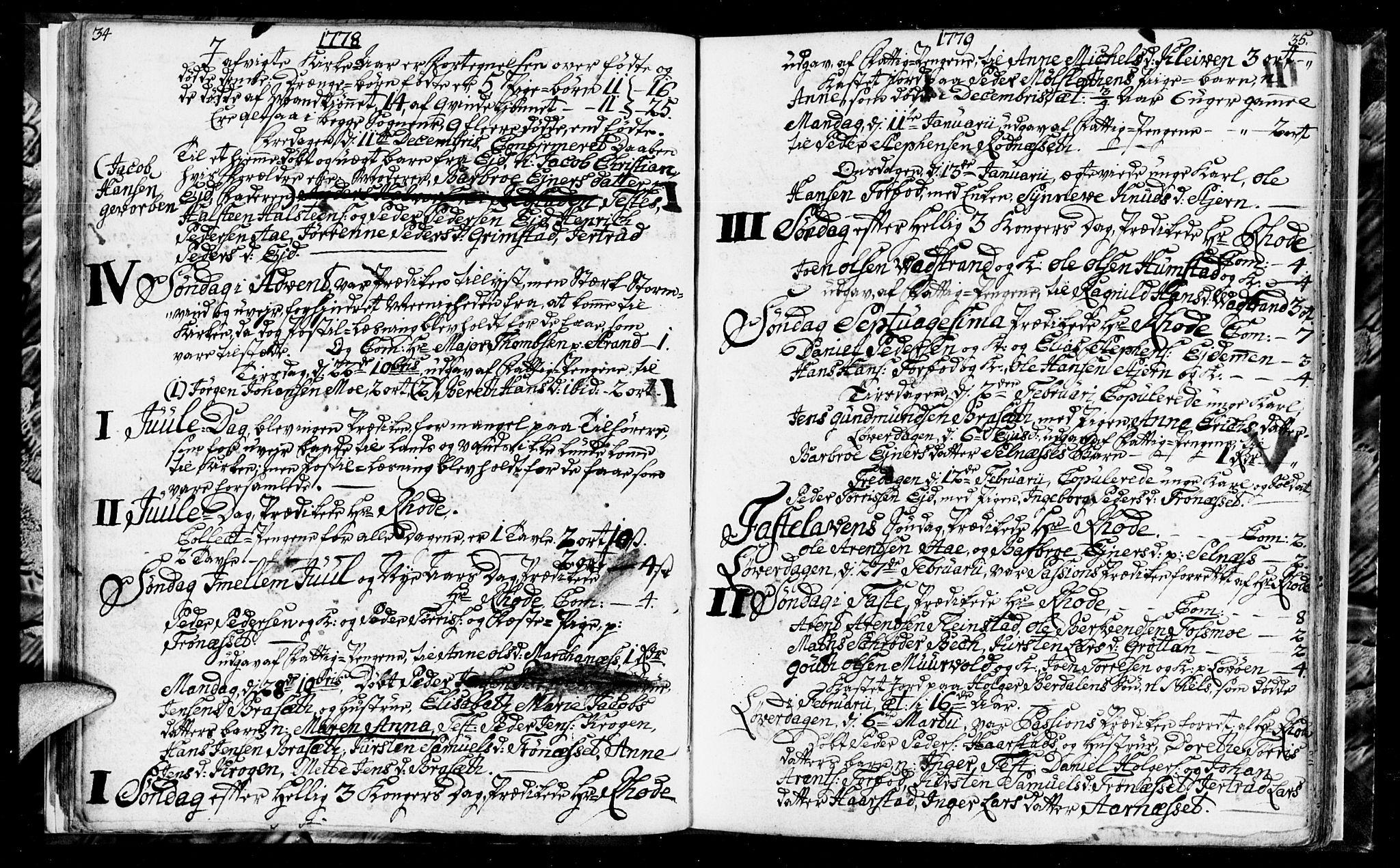 SAT, Ministerialprotokoller, klokkerbøker og fødselsregistre - Sør-Trøndelag, 655/L0685: Klokkerbok nr. 655C01, 1777-1788, s. 34-35