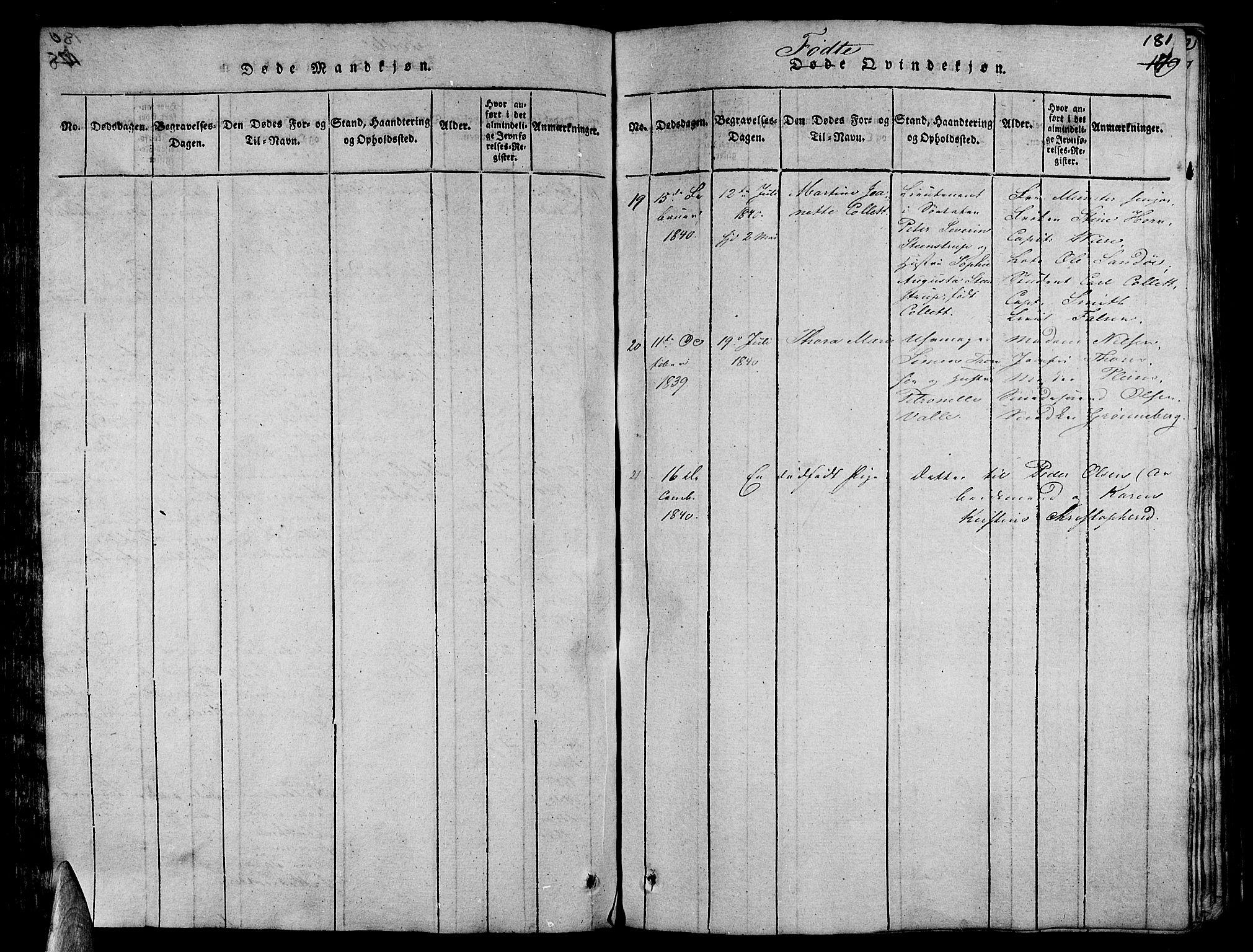SAKO, Stavern kirkebøker, G/Ga/L0001: Klokkerbok nr. 1, 1817-1841, s. 181