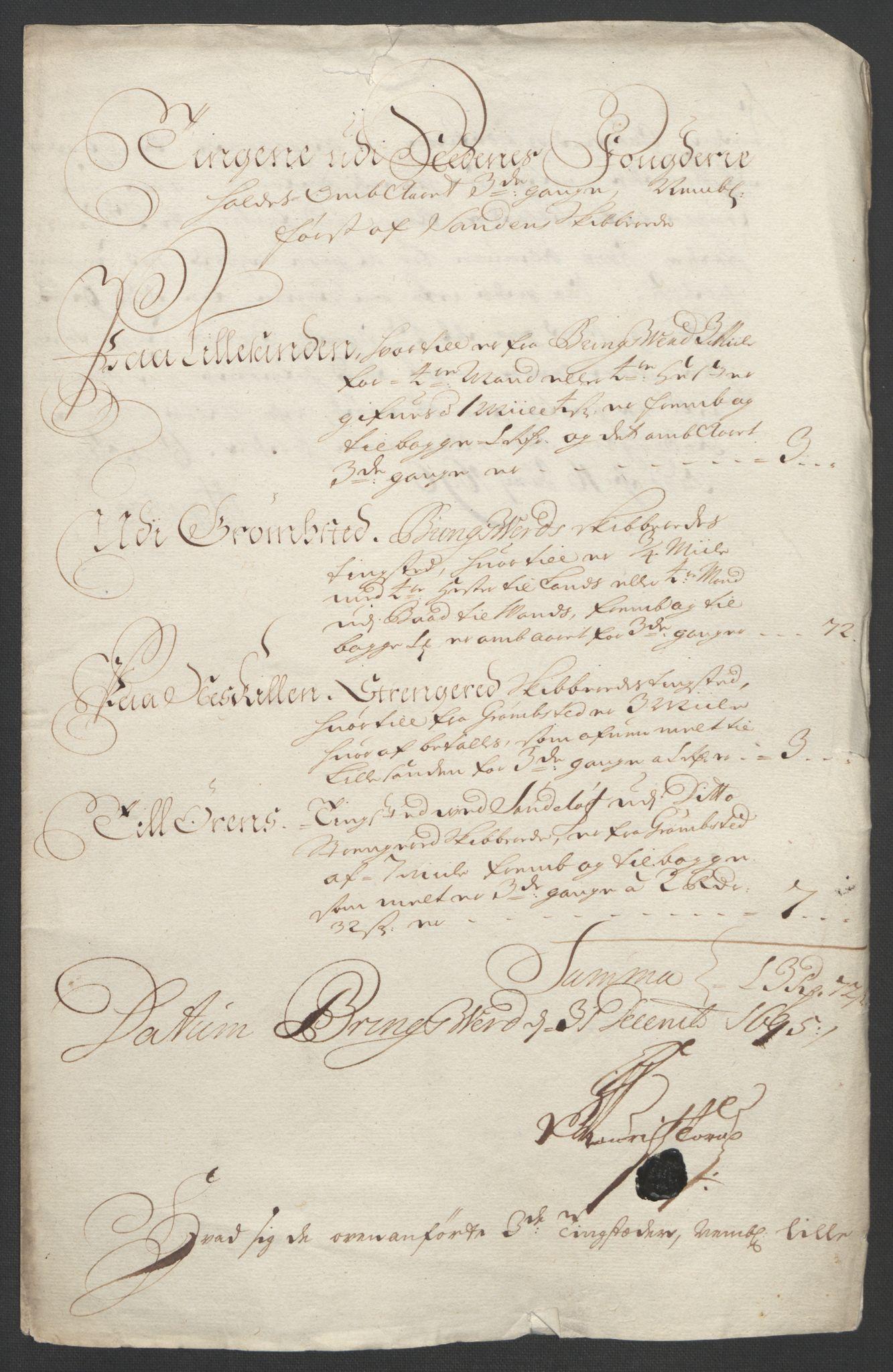 RA, Rentekammeret inntil 1814, Reviderte regnskaper, Fogderegnskap, R39/L2312: Fogderegnskap Nedenes, 1693-1695, s. 329