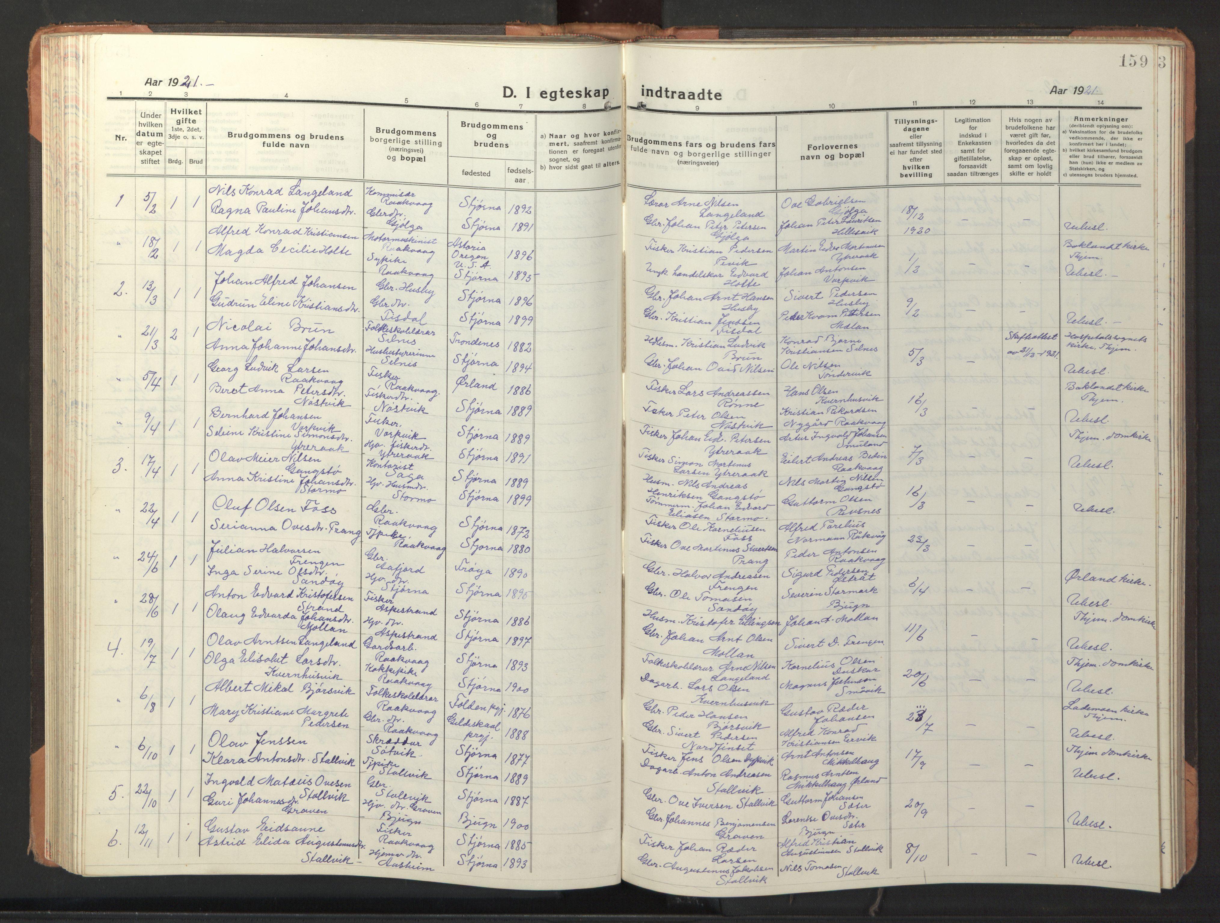 SAT, Ministerialprotokoller, klokkerbøker og fødselsregistre - Sør-Trøndelag, 653/L0658: Klokkerbok nr. 653C02, 1919-1947, s. 159