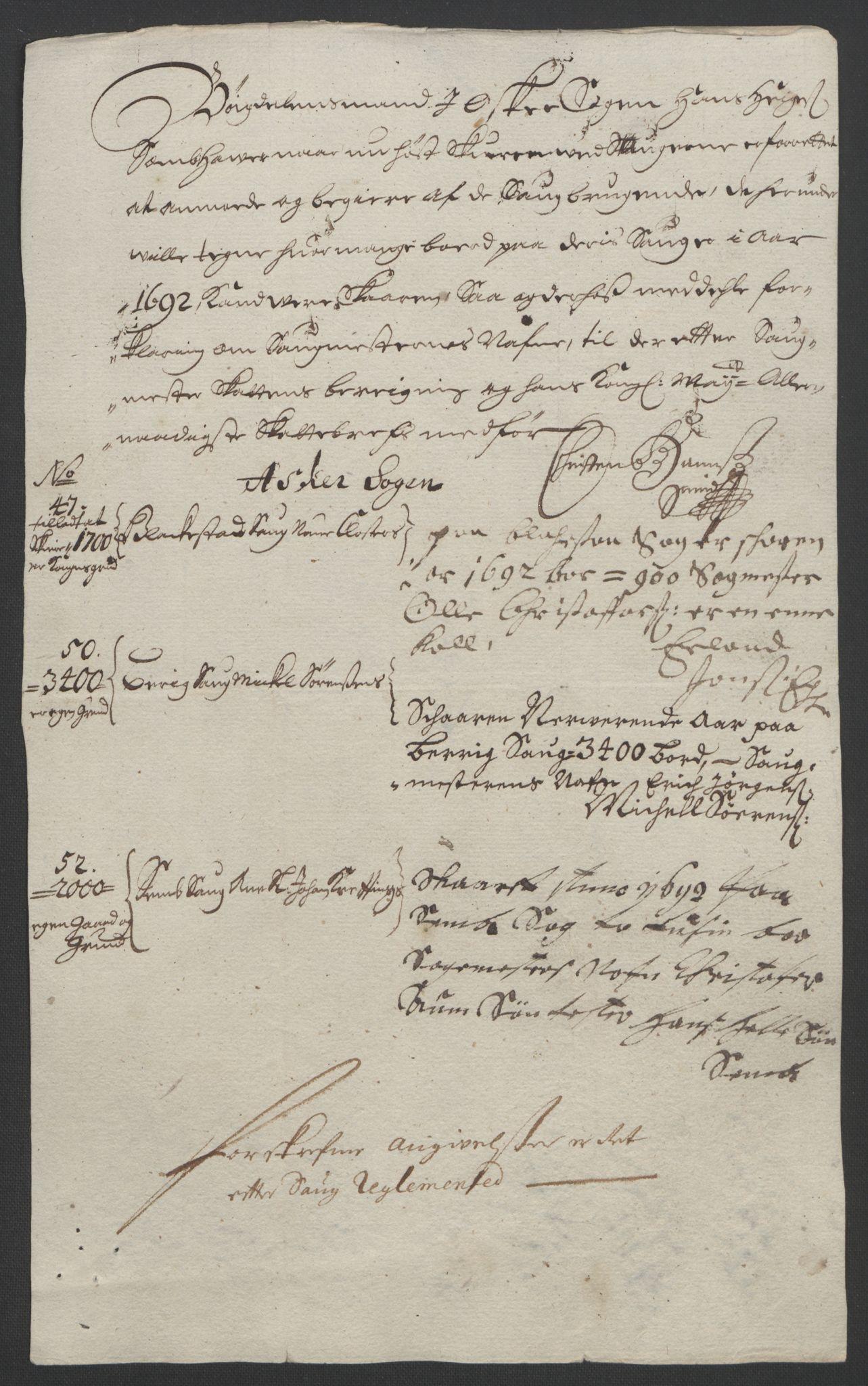 RA, Rentekammeret inntil 1814, Reviderte regnskaper, Fogderegnskap, R08/L0426: Fogderegnskap Aker, 1692-1693, s. 108