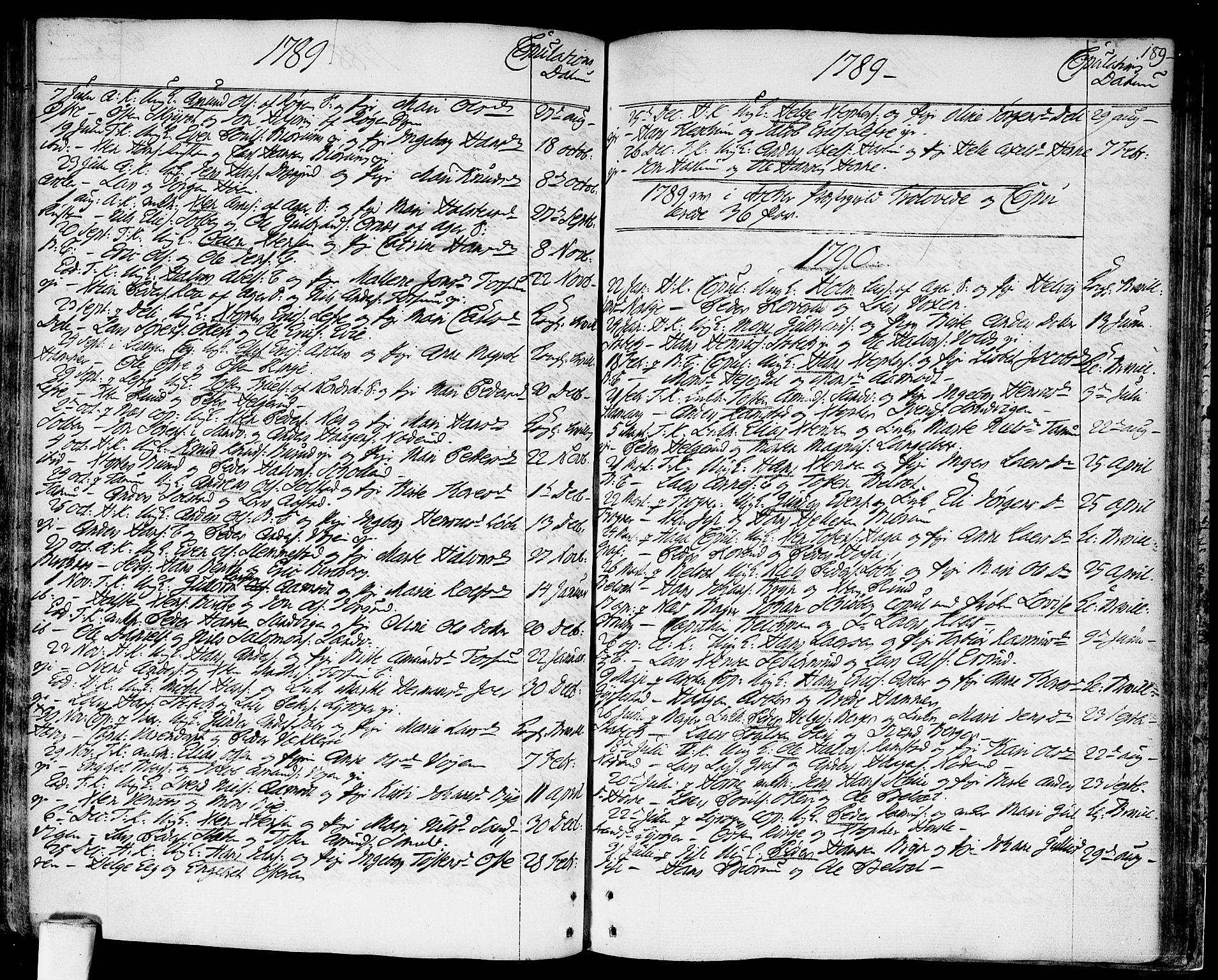 SAO, Asker prestekontor Kirkebøker, F/Fa/L0003: Ministerialbok nr. I 3, 1767-1807, s. 189
