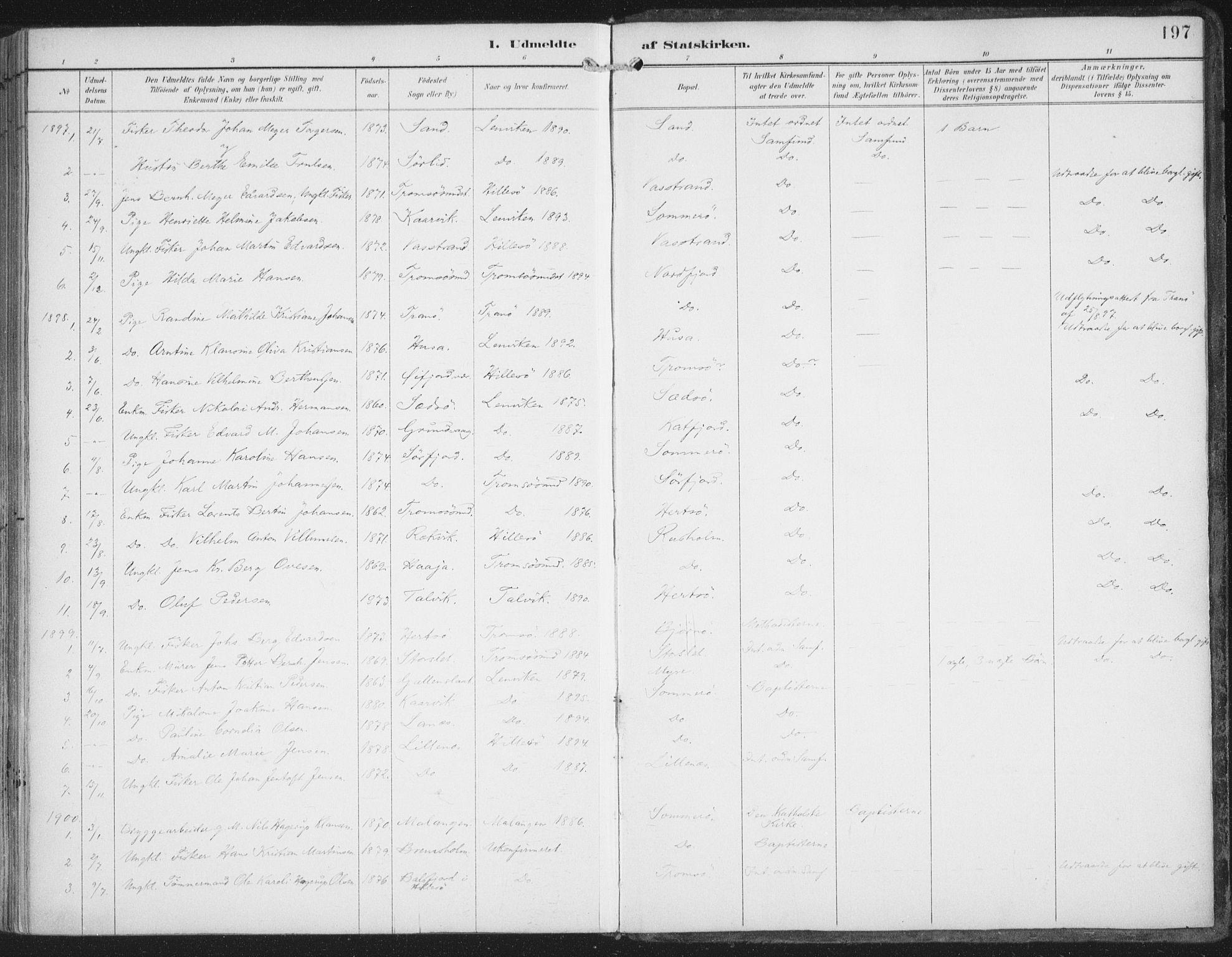 SATØ, Lenvik sokneprestembete, H/Ha: Ministerialbok nr. 15, 1896-1915, s. 197