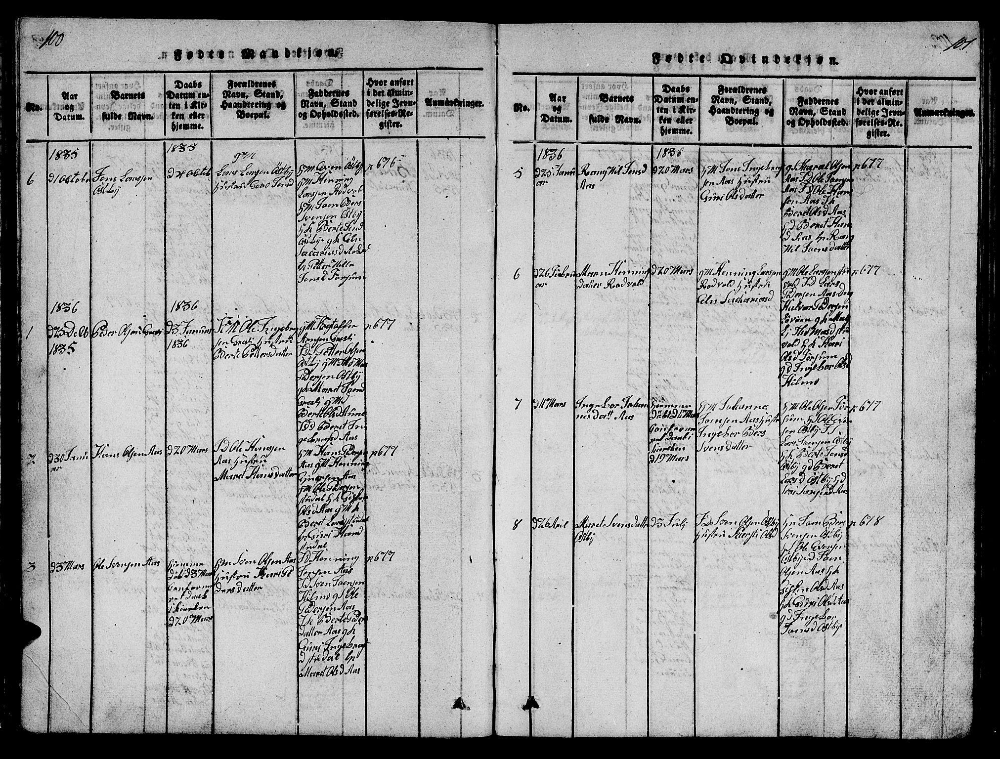 SAT, Ministerialprotokoller, klokkerbøker og fødselsregistre - Sør-Trøndelag, 698/L1164: Klokkerbok nr. 698C01, 1816-1861, s. 100-101