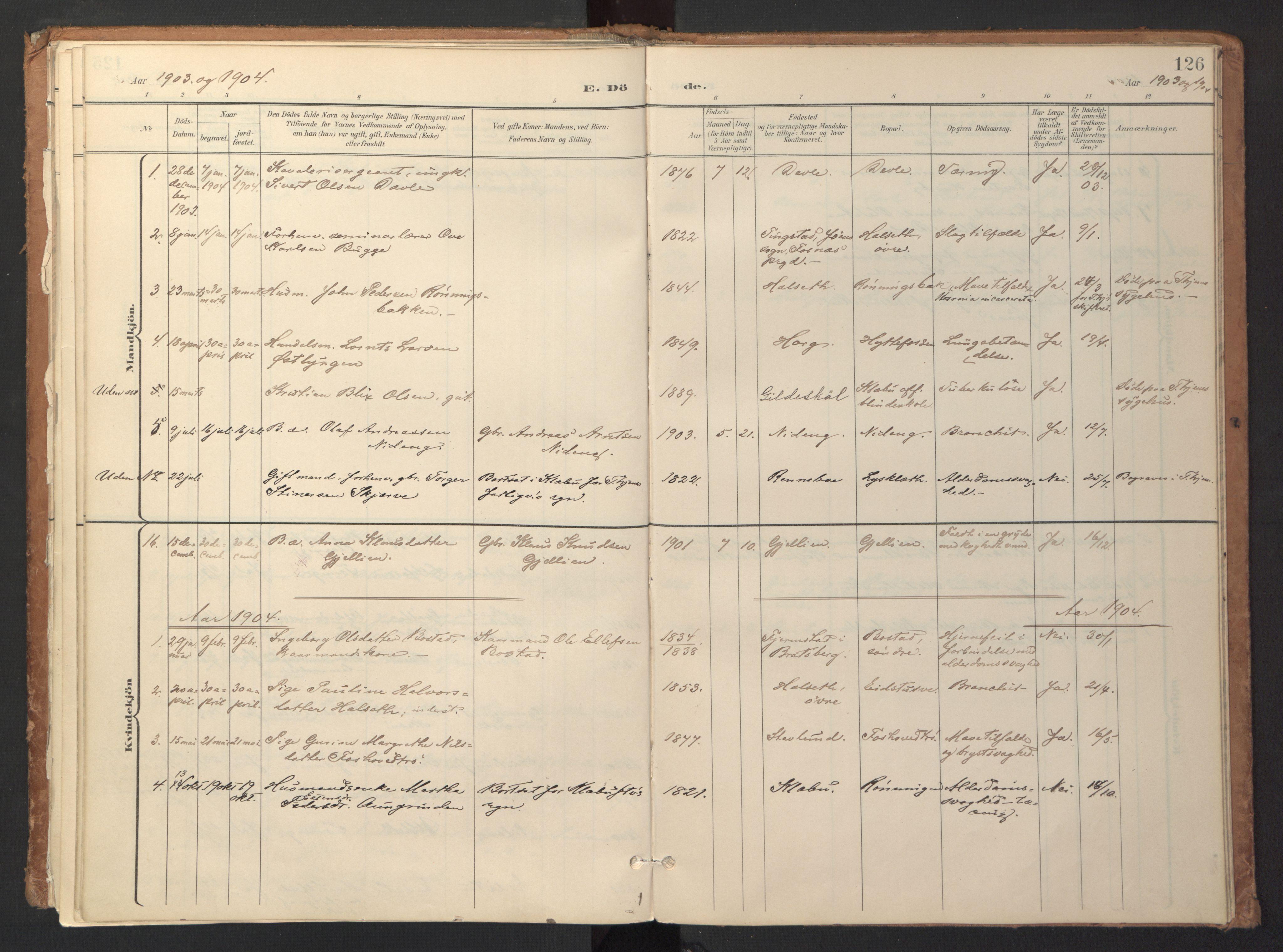 SAT, Ministerialprotokoller, klokkerbøker og fødselsregistre - Sør-Trøndelag, 618/L0448: Ministerialbok nr. 618A11, 1898-1916, s. 126