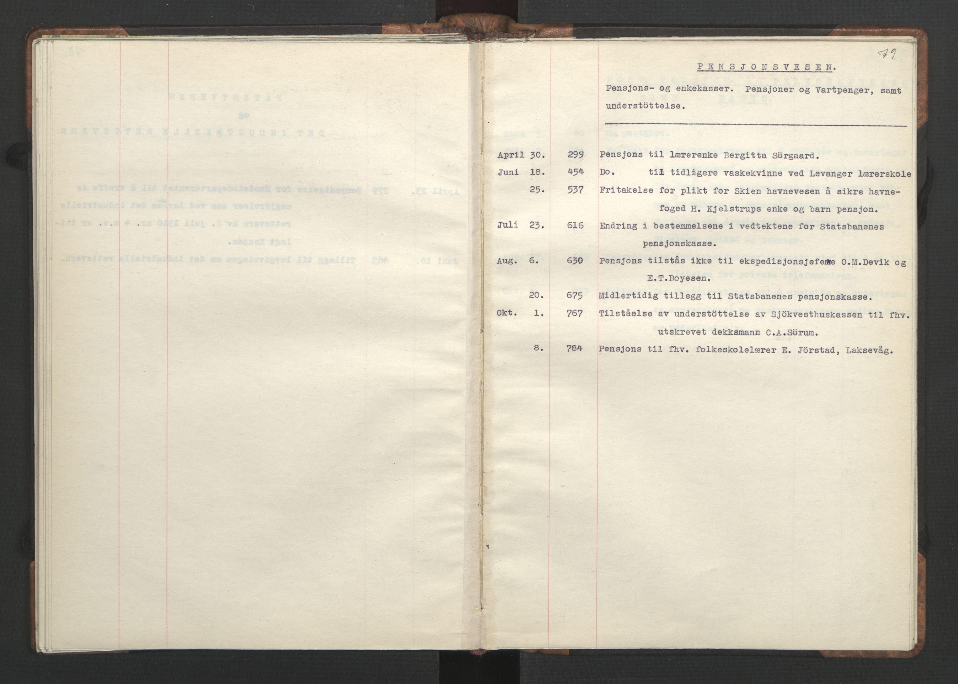RA, NS-administrasjonen 1940-1945 (Statsrådsekretariatet, de kommisariske statsråder mm), D/Da/L0002: Register (RA j.nr. 985/1943, tilgangsnr. 17/1943), 1942, s. 78b-79a