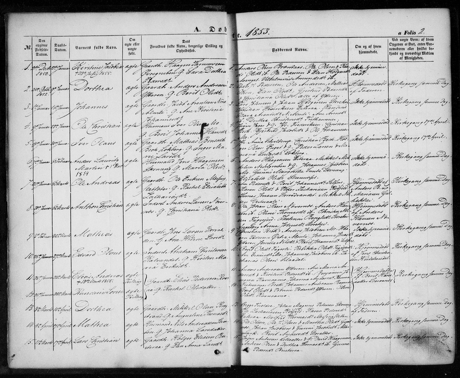 SAT, Ministerialprotokoller, klokkerbøker og fødselsregistre - Nordland, 827/L0392: Ministerialbok nr. 827A04, 1853-1866, s. 2