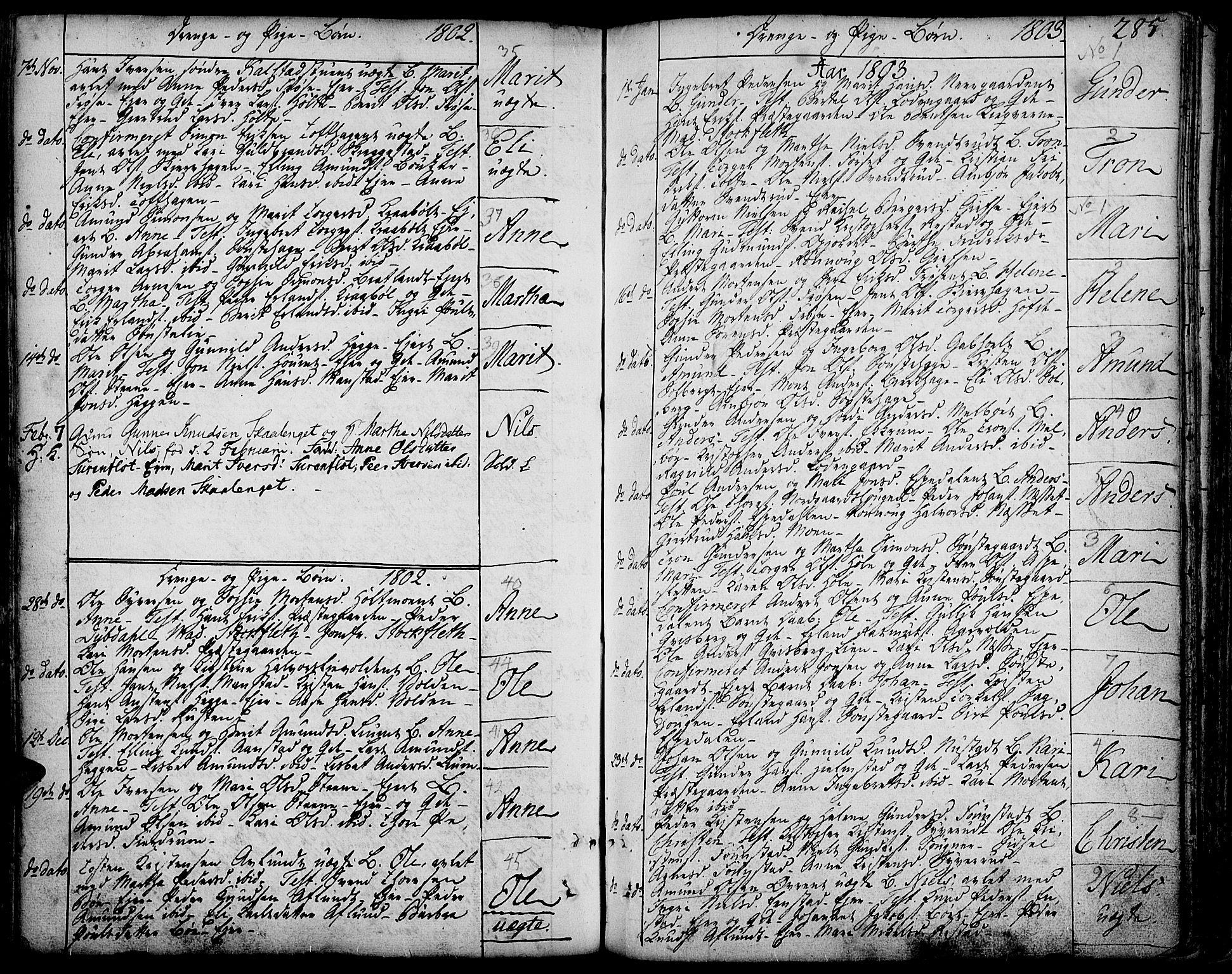 SAH, Gausdal prestekontor, Ministerialbok nr. 3, 1758-1809, s. 285