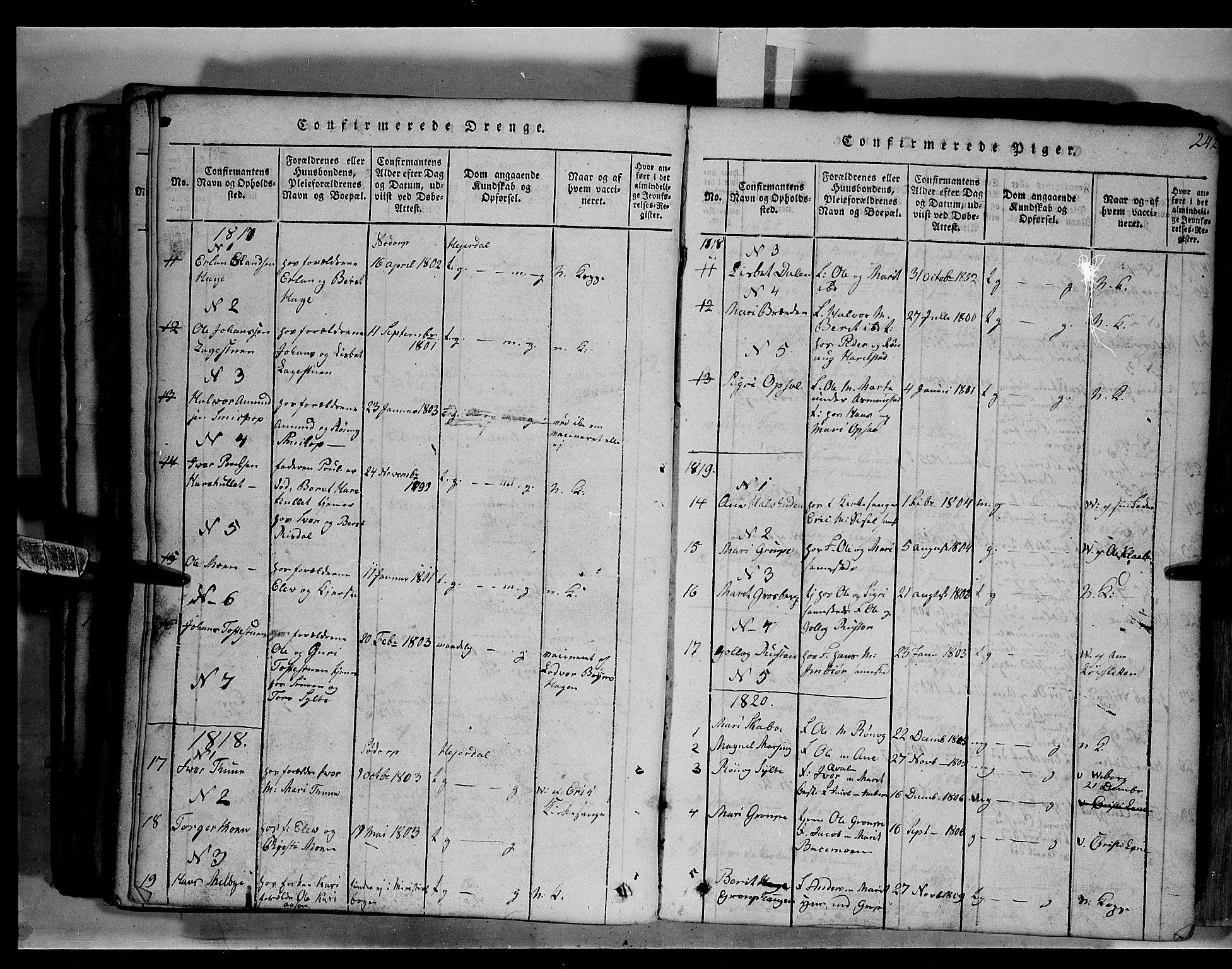 SAH, Fron prestekontor, H/Ha/Hab/L0003: Klokkerbok nr. 3, 1816-1850, s. 242