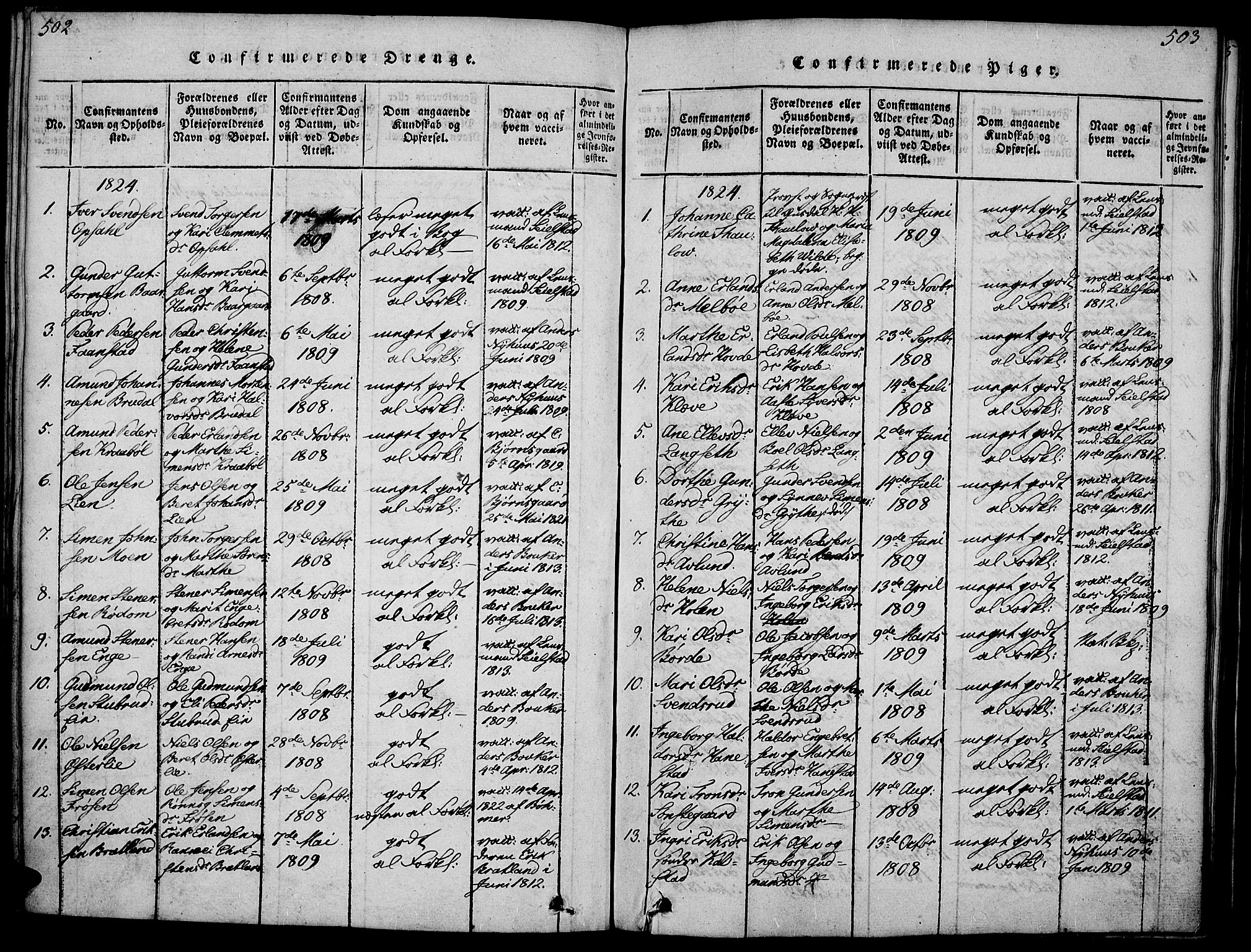 SAH, Gausdal prestekontor, Ministerialbok nr. 5, 1817-1829, s. 502-503