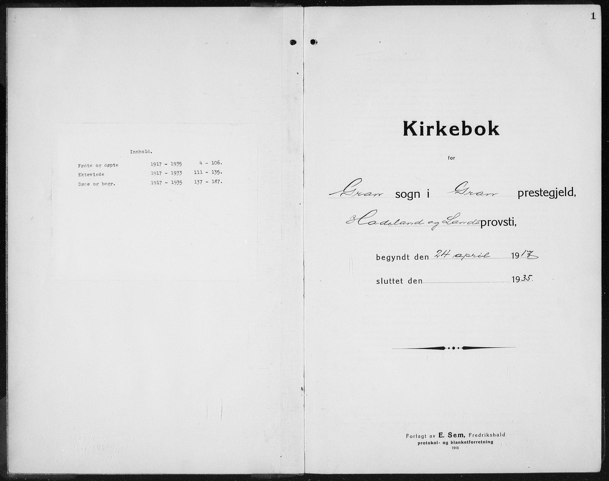 SAH, Gran prestekontor, Klokkerbok nr. 8, 1917-1935, s. 1