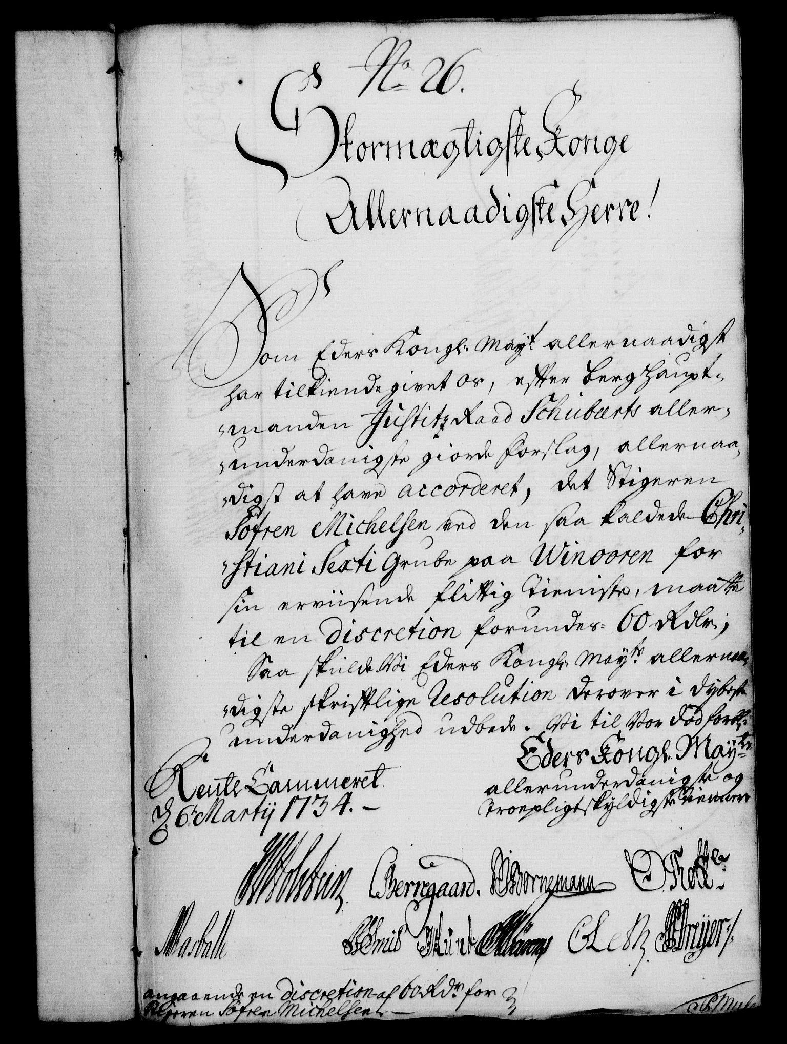 RA, Rentekammeret, Kammerkanselliet, G/Gf/Gfa/L0017: Norsk relasjons- og resolusjonsprotokoll (merket RK 52.17), 1734, s. 156