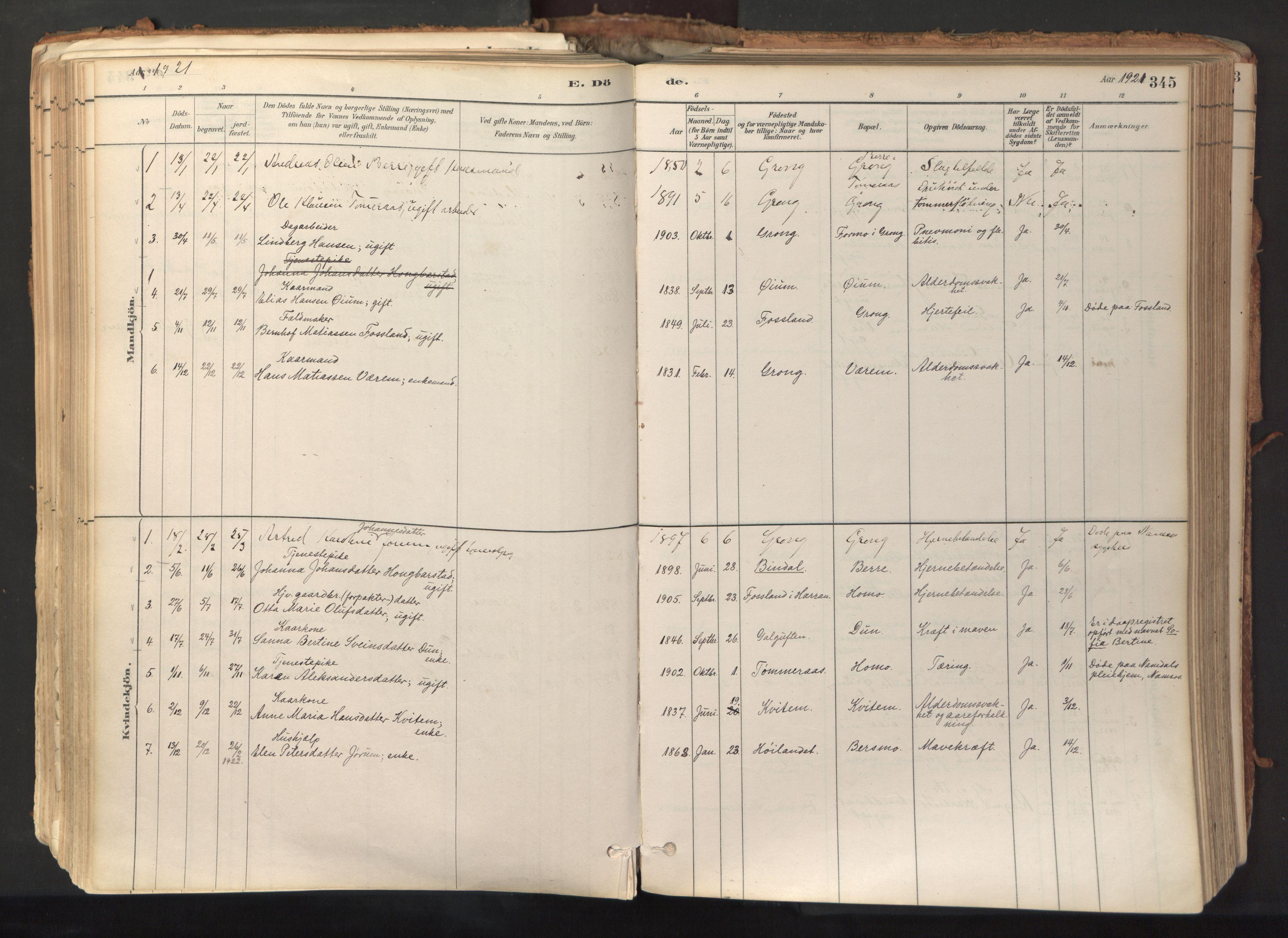 SAT, Ministerialprotokoller, klokkerbøker og fødselsregistre - Nord-Trøndelag, 758/L0519: Ministerialbok nr. 758A04, 1880-1926, s. 345