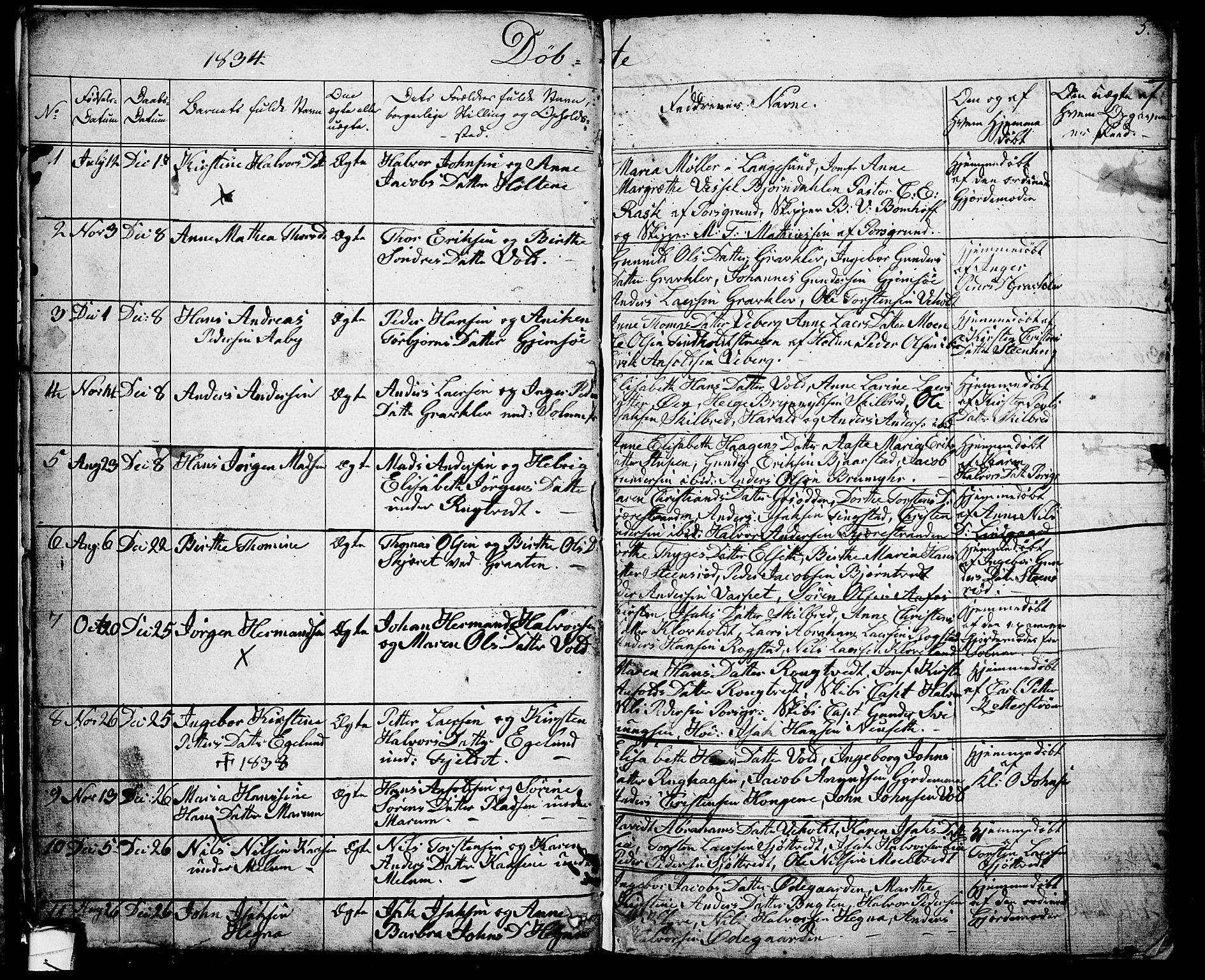 SAKO, Solum kirkebøker, G/Ga/L0002: Klokkerbok nr. I 2, 1834-1848, s. 5