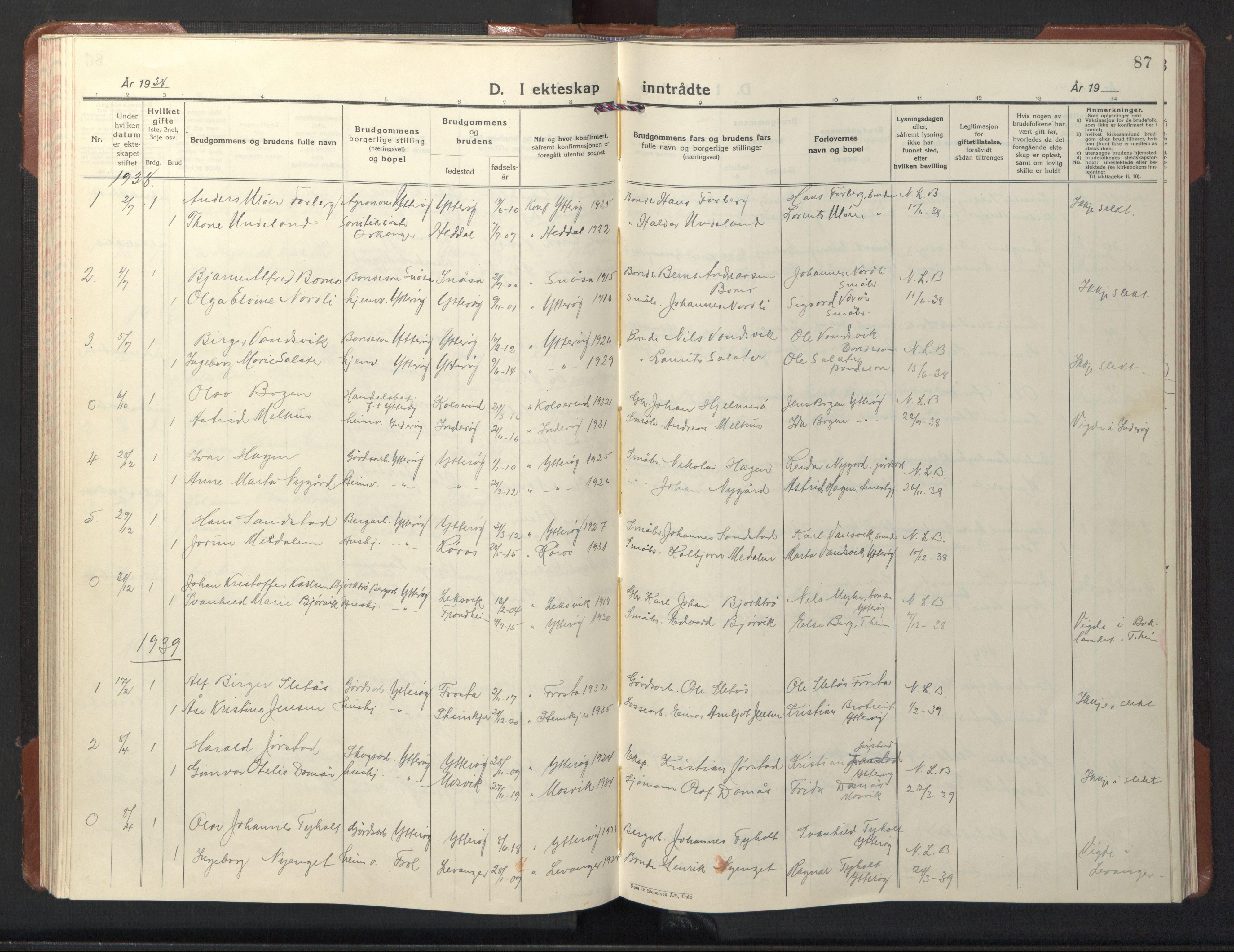 SAT, Ministerialprotokoller, klokkerbøker og fødselsregistre - Nord-Trøndelag, 722/L0227: Klokkerbok nr. 722C03, 1928-1958, s. 87