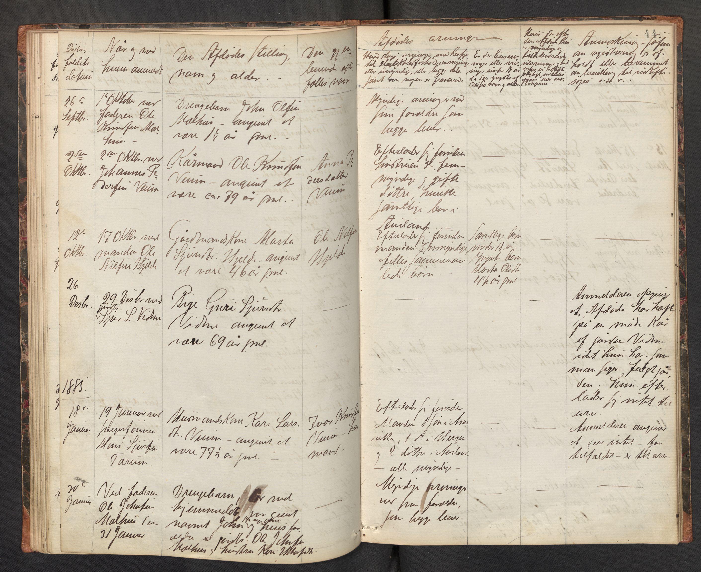 SAB, Lensmannen i Aurland, 0006/L0002: Dødsfallprotokoll, 1877-1892, s. 43b-44a