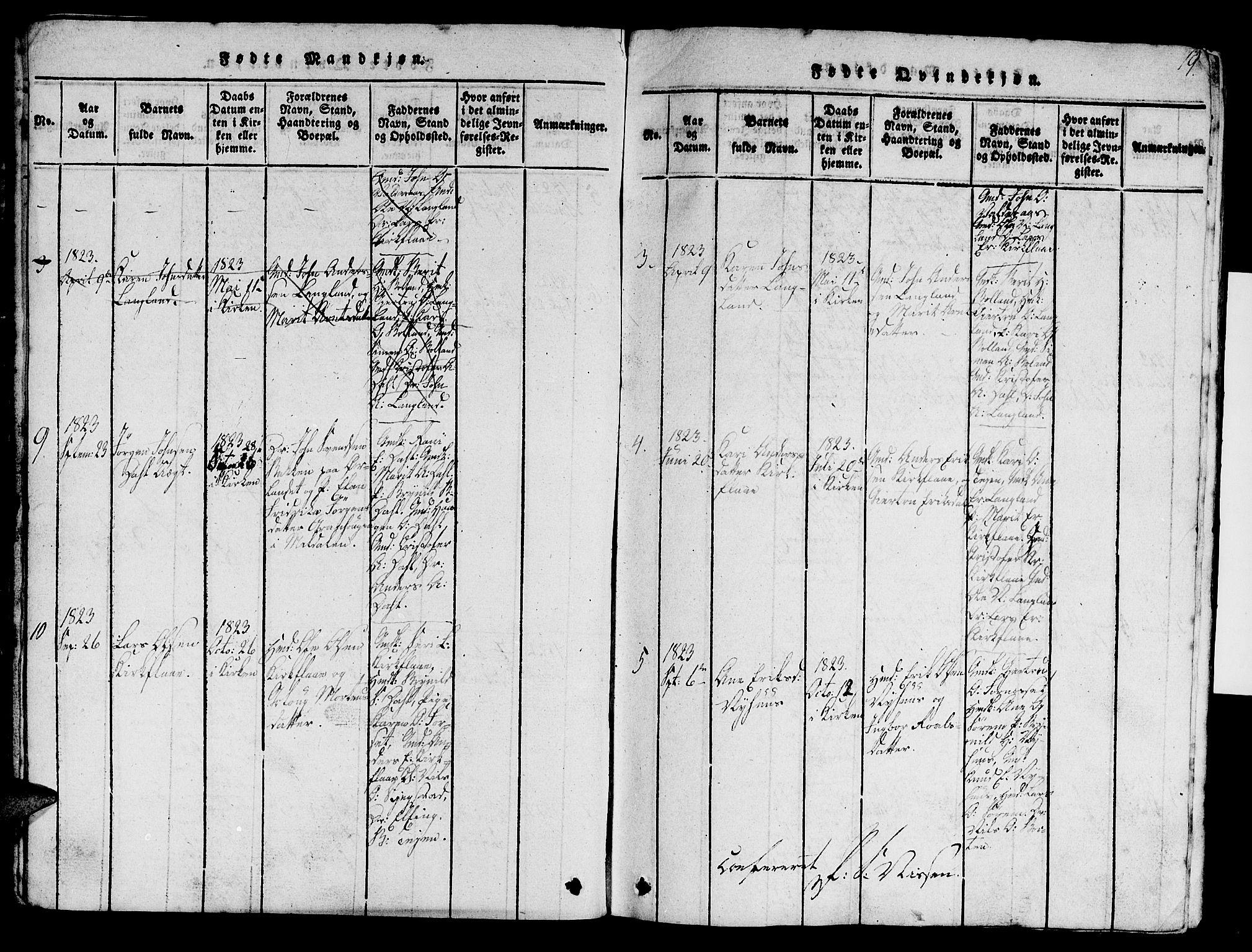 SAT, Ministerialprotokoller, klokkerbøker og fødselsregistre - Sør-Trøndelag, 693/L1121: Klokkerbok nr. 693C02, 1816-1869, s. 19