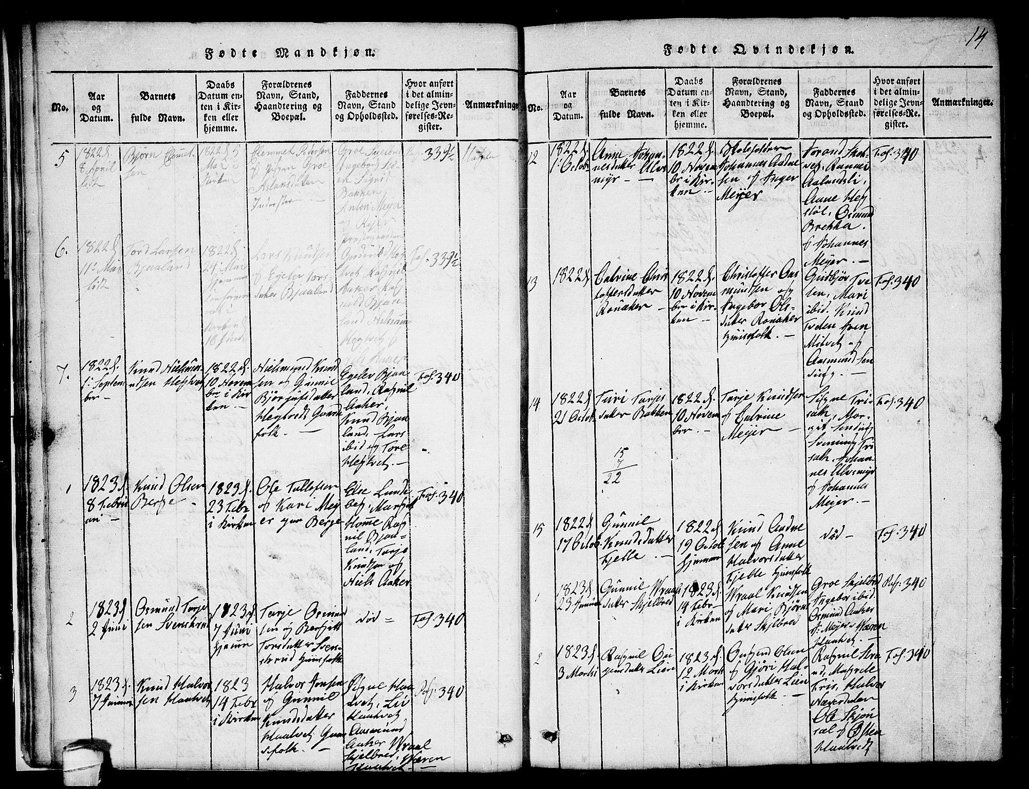 SAKO, Lårdal kirkebøker, G/Ga/L0001: Klokkerbok nr. I 1, 1815-1861, s. 14
