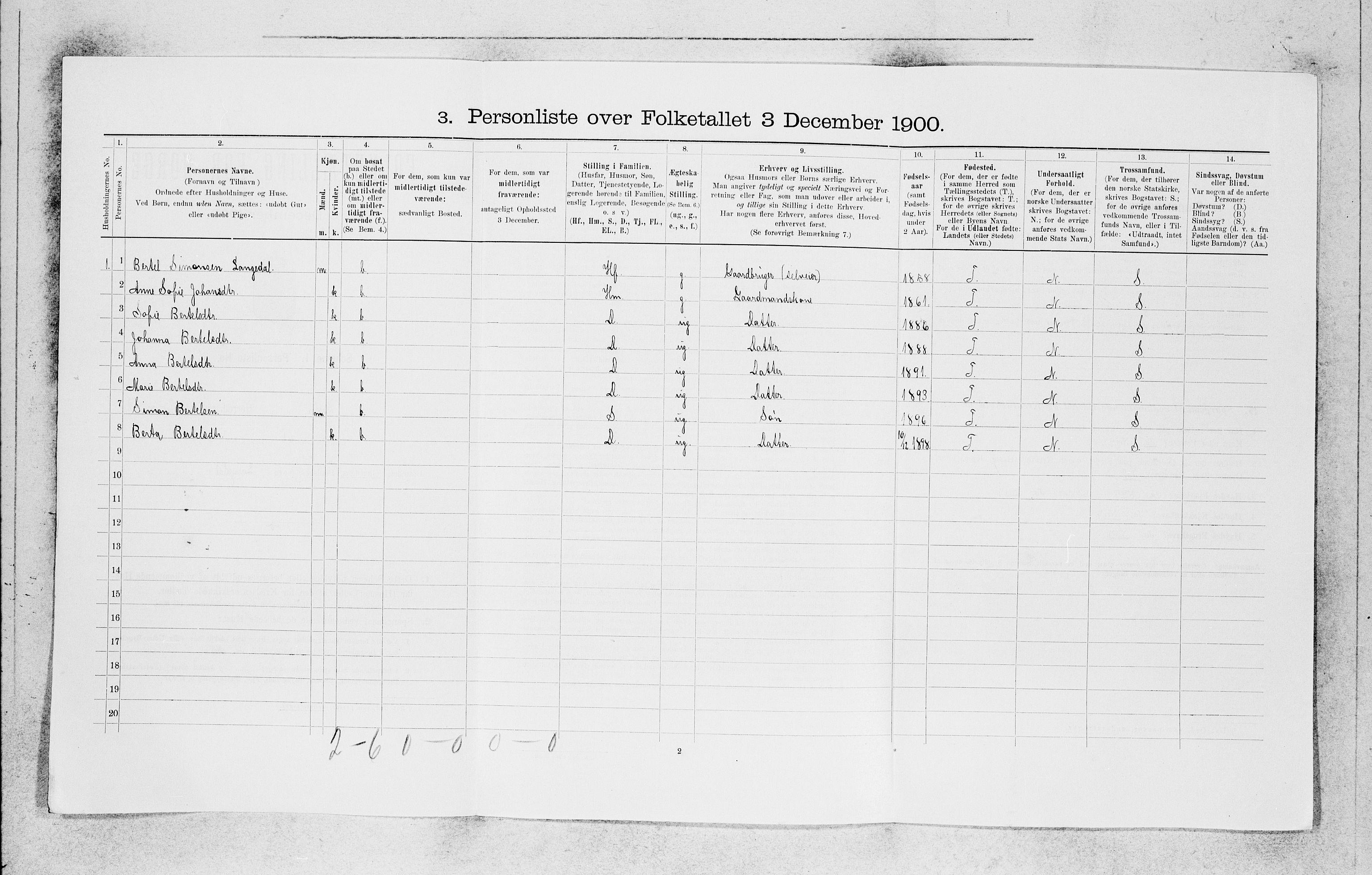 SAB, Folketelling 1900 for 1437 Kinn herred, 1900, s. 186