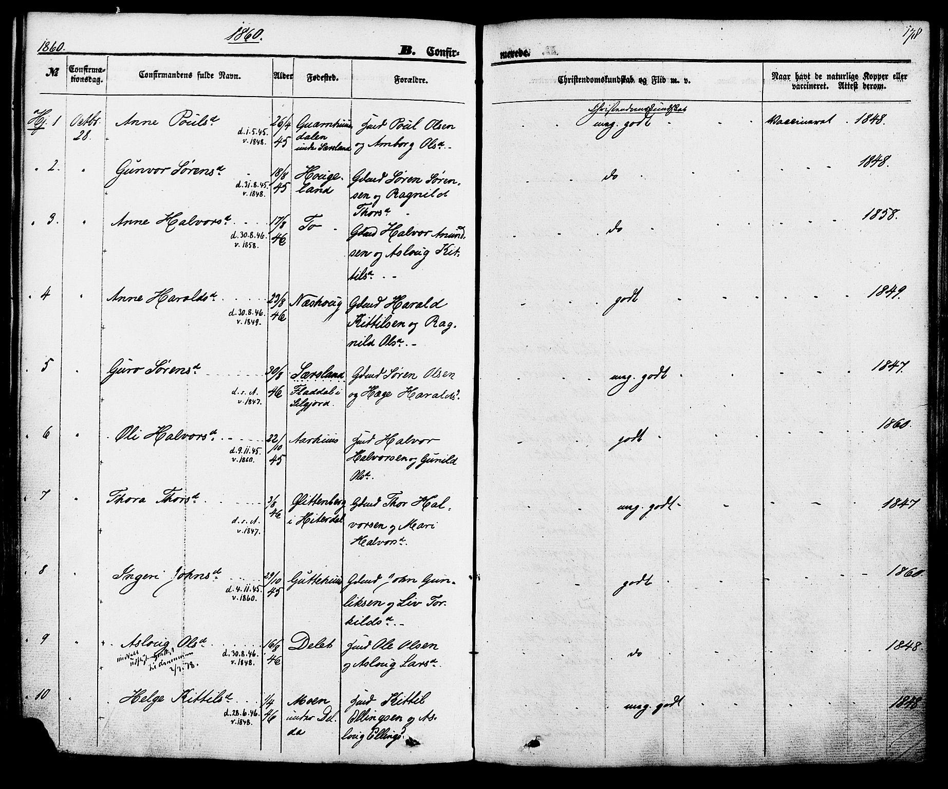 SAKO, Hjartdal kirkebøker, F/Fa/L0009: Ministerialbok nr. I 9, 1860-1879, s. 178