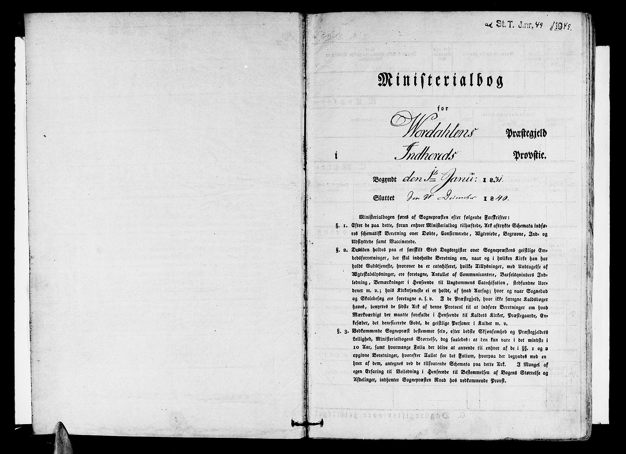 SAT, Ministerialprotokoller, klokkerbøker og fødselsregistre - Nord-Trøndelag, 723/L0238: Ministerialbok nr. 723A07, 1831-1840