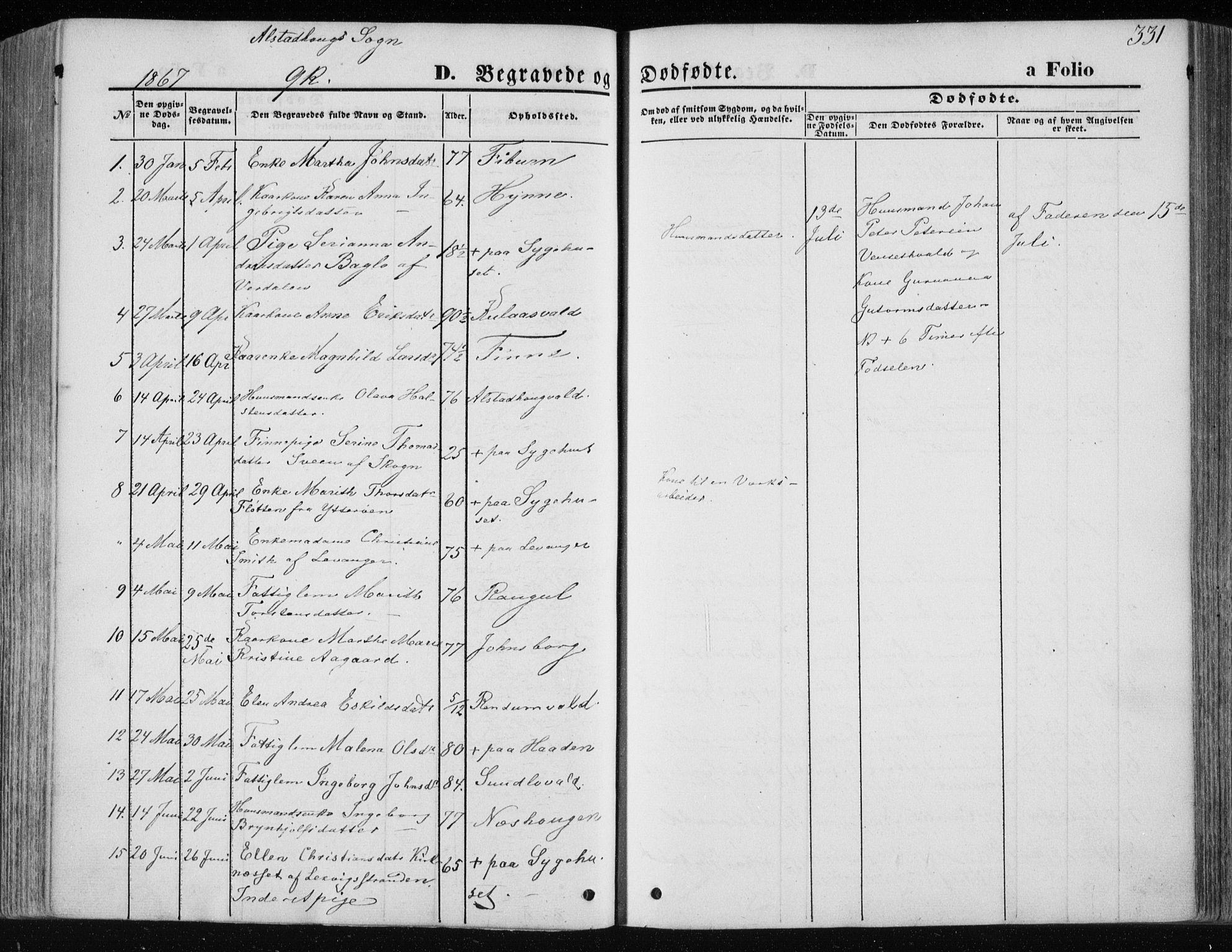 SAT, Ministerialprotokoller, klokkerbøker og fødselsregistre - Nord-Trøndelag, 717/L0157: Ministerialbok nr. 717A08 /1, 1863-1877, s. 331