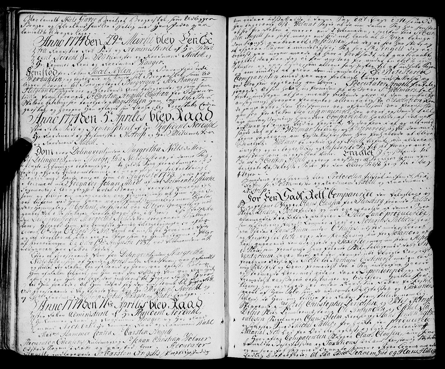 SAT, Trondheim magistrat, A/Aa/L0017: Rådstueprotokoller, 1772-1793, s. 55