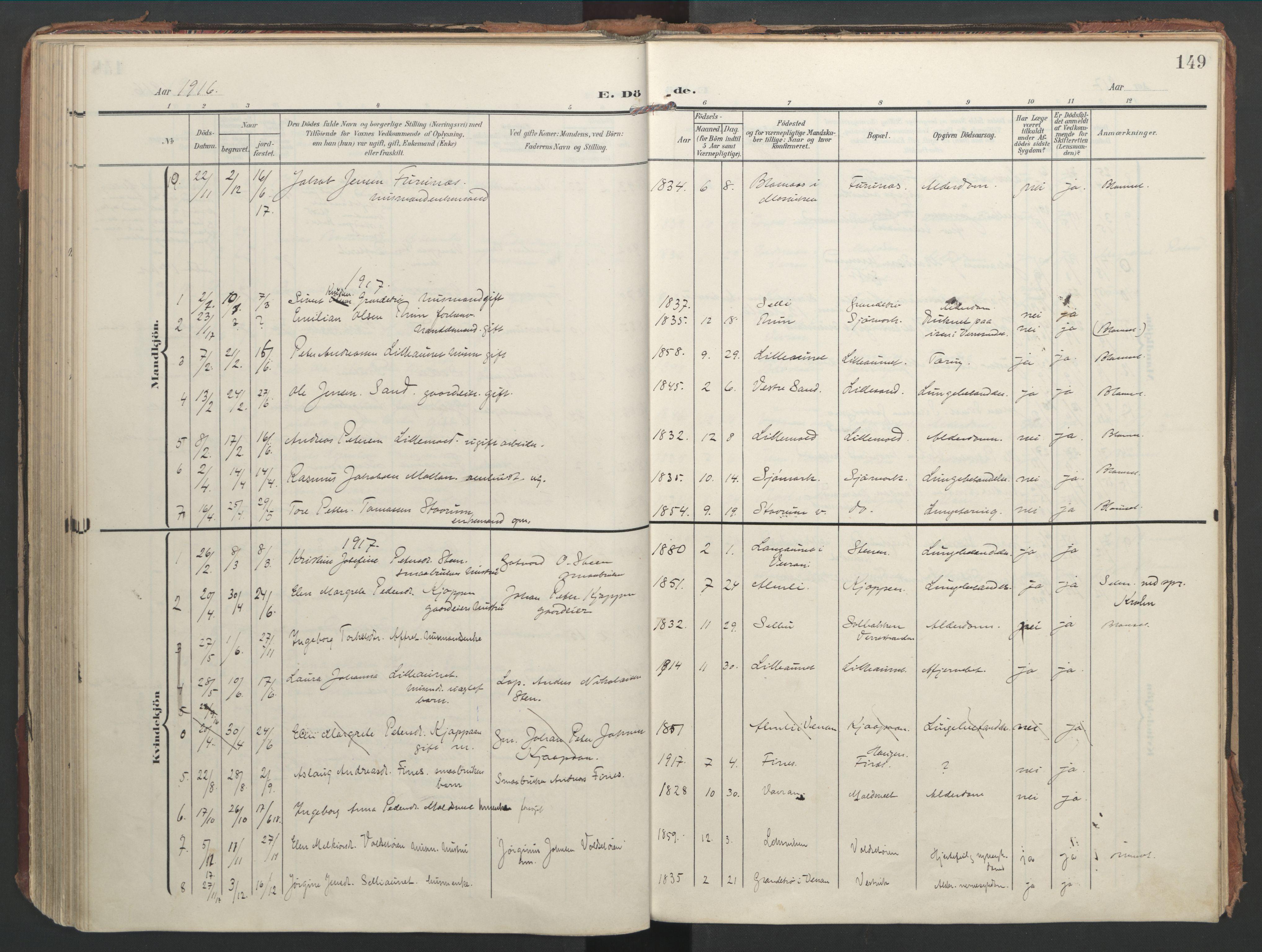 SAT, Ministerialprotokoller, klokkerbøker og fødselsregistre - Nord-Trøndelag, 744/L0421: Ministerialbok nr. 744A05, 1905-1930, s. 149