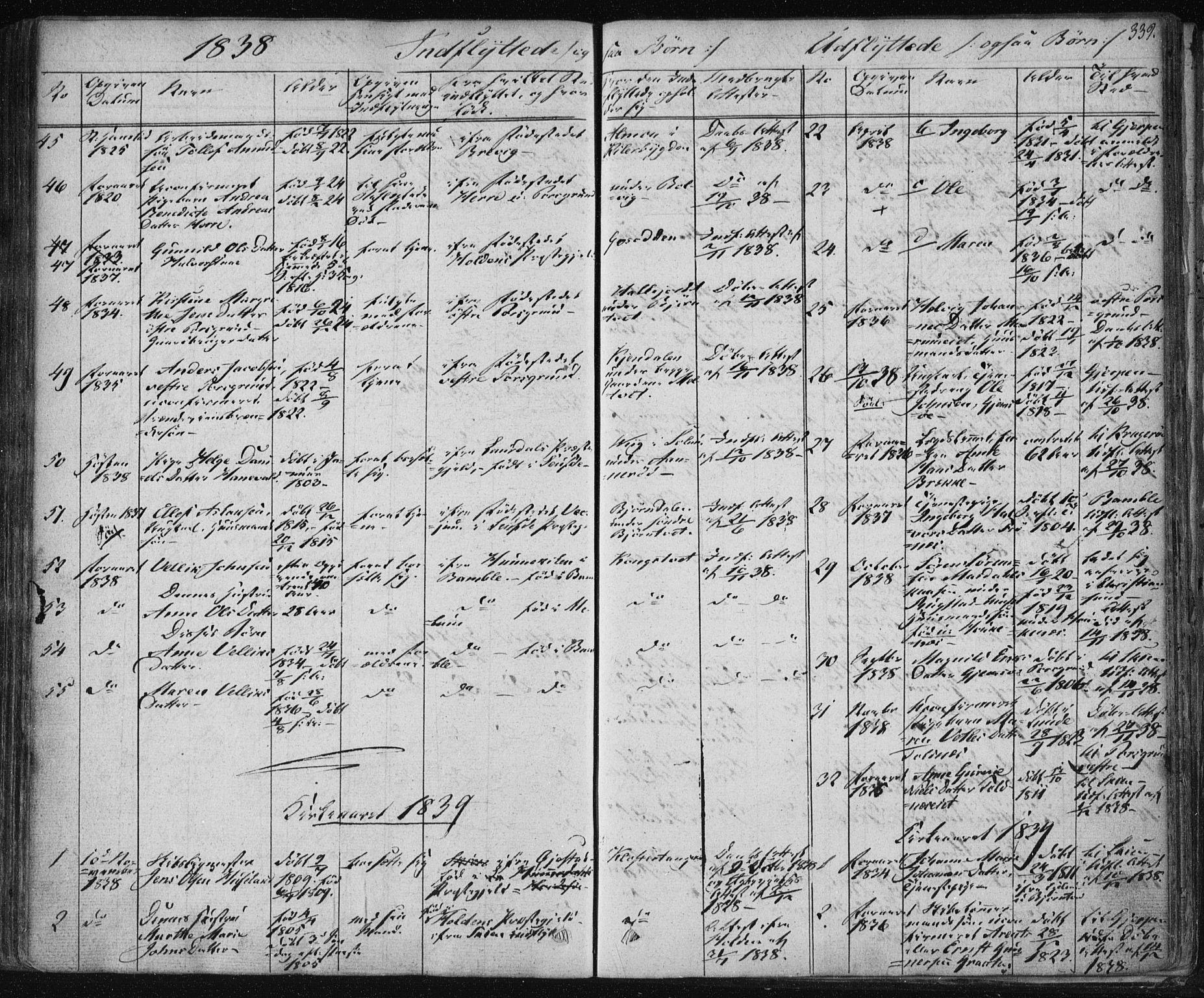 SAKO, Solum kirkebøker, F/Fa/L0005: Ministerialbok nr. I 5, 1833-1843, s. 339