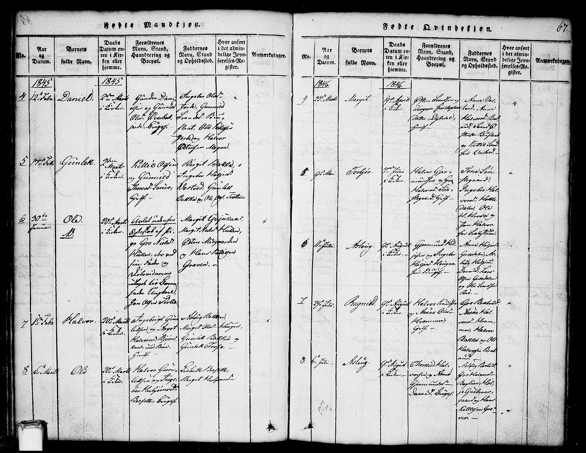 SAKO, Gransherad kirkebøker, G/Gb/L0001: Klokkerbok nr. II 1, 1815-1860, s. 67