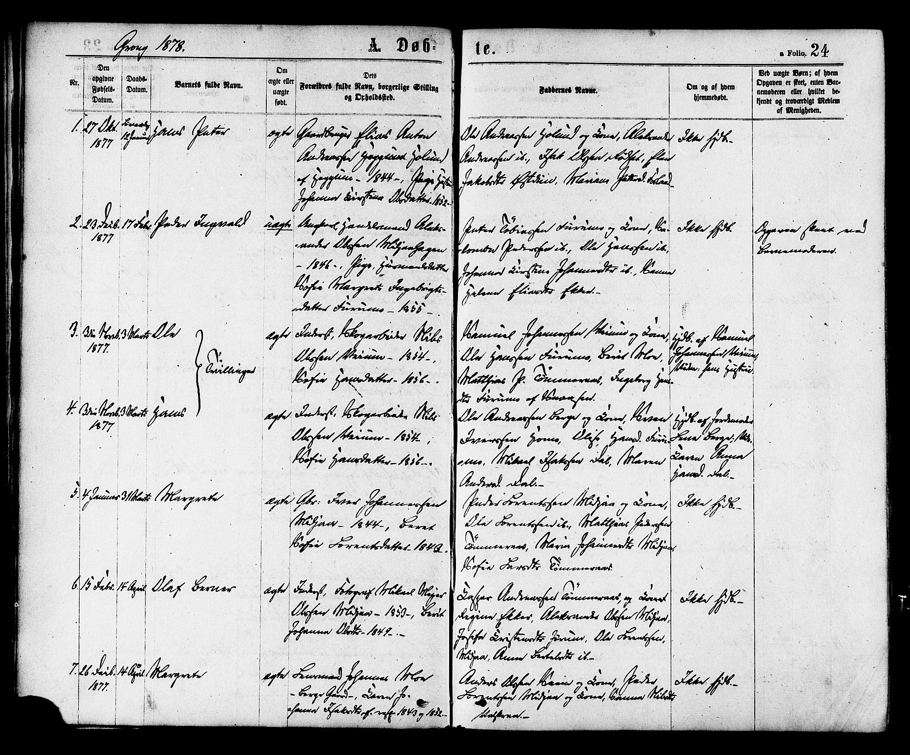 SAT, Ministerialprotokoller, klokkerbøker og fødselsregistre - Nord-Trøndelag, 758/L0516: Ministerialbok nr. 758A03 /1, 1869-1879, s. 24